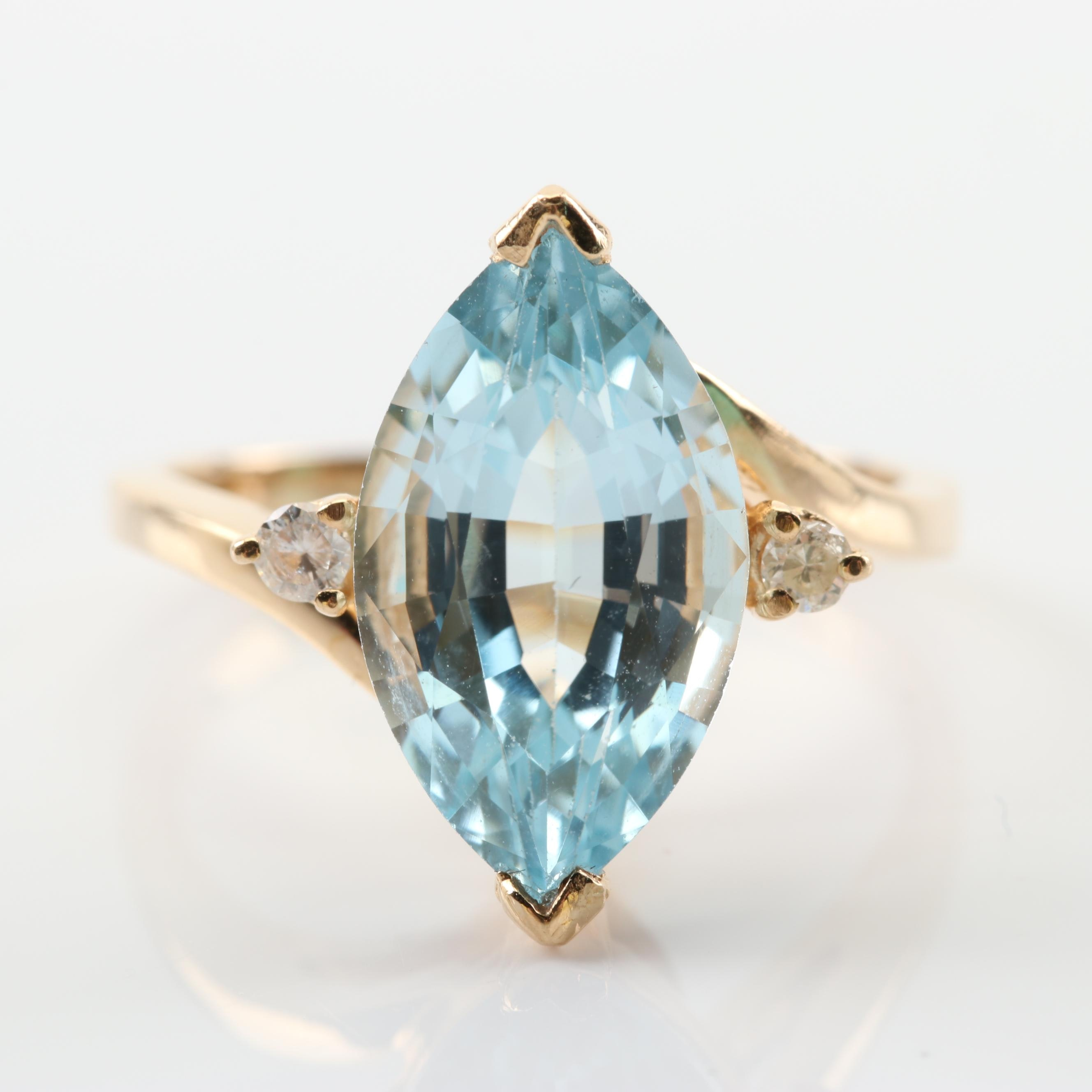 14K Yellow Gold 3.88 CT Blue Topaz and Diamond Ring