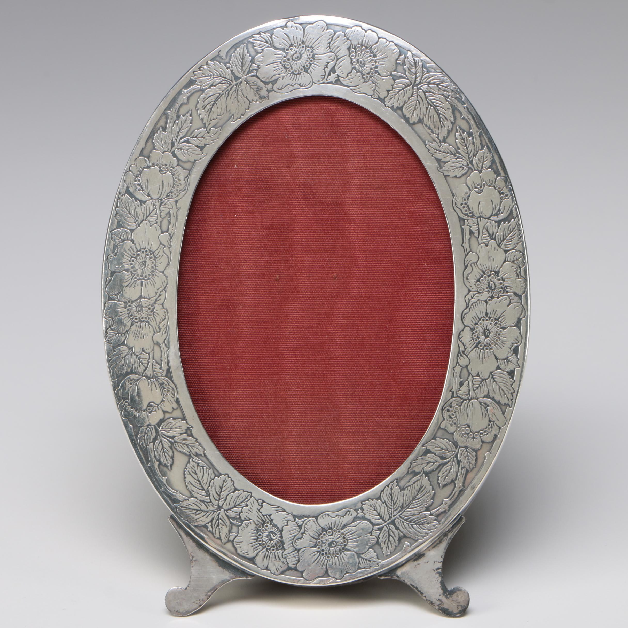 Silver-Plated Chased Floral Oval Picture Frame