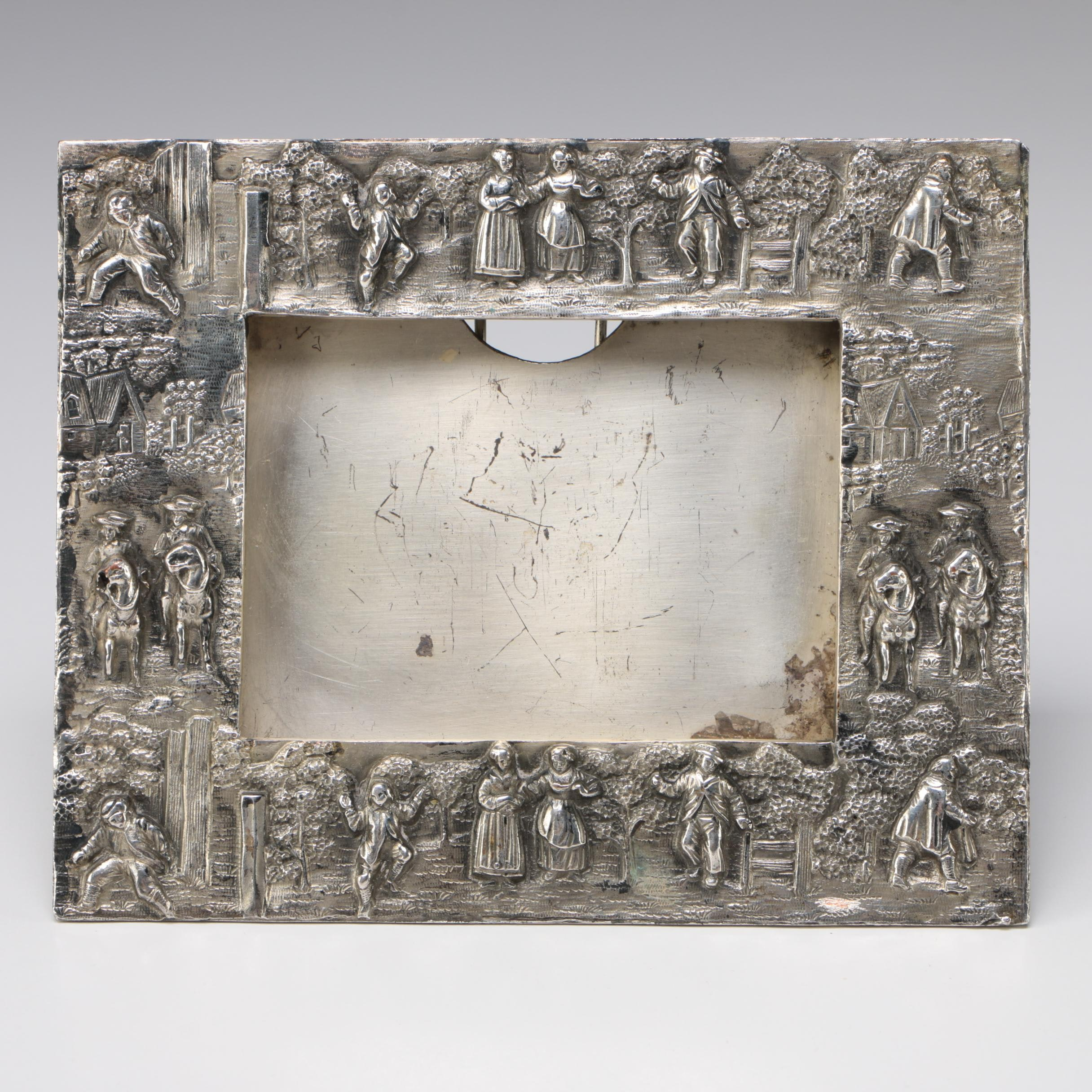 E.G. Webster & Son Silver Plate Repoussé Village Scene Frame, Early 20th Century