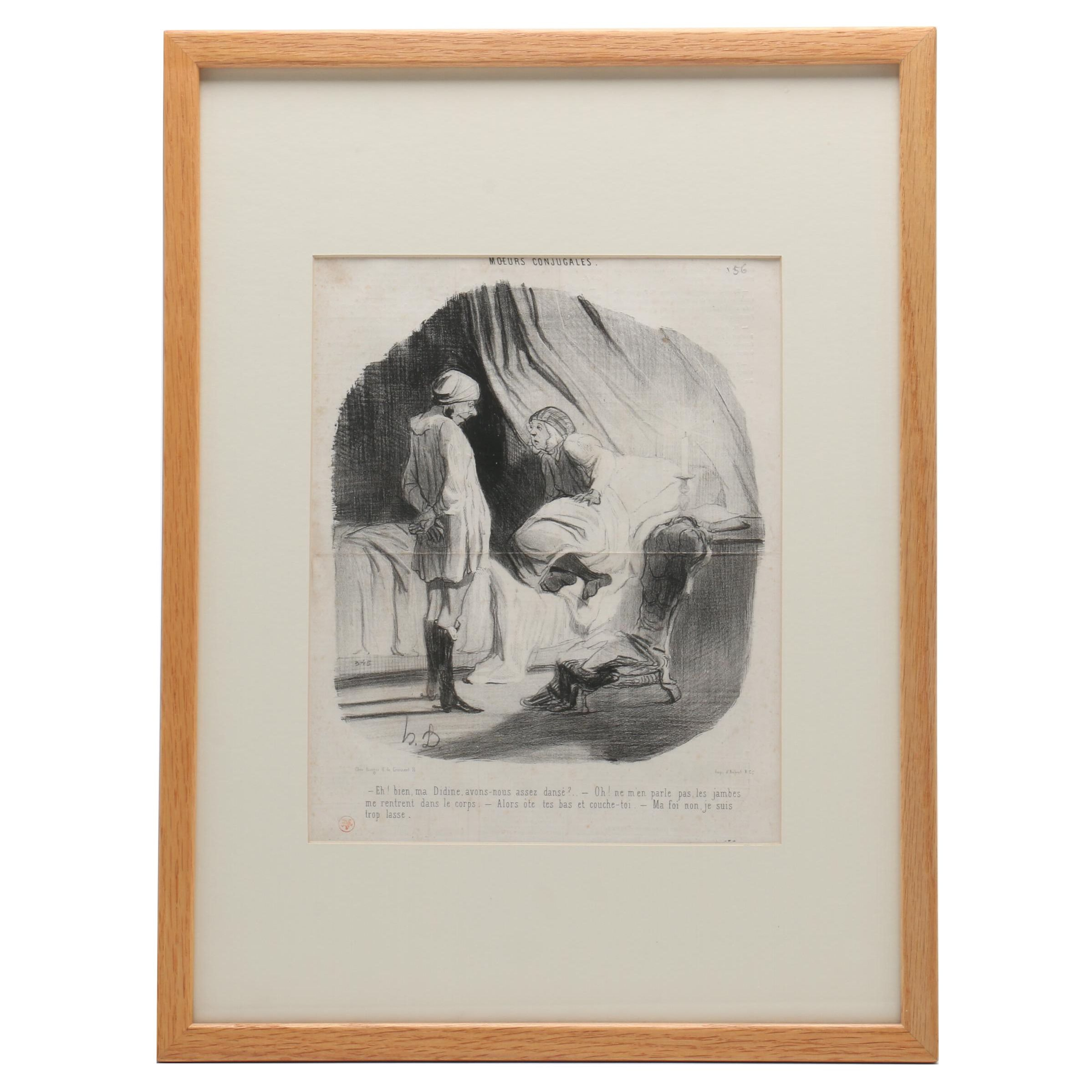 """Lithograph after Honoré Daumier """"Moeurs Conjugales"""""""