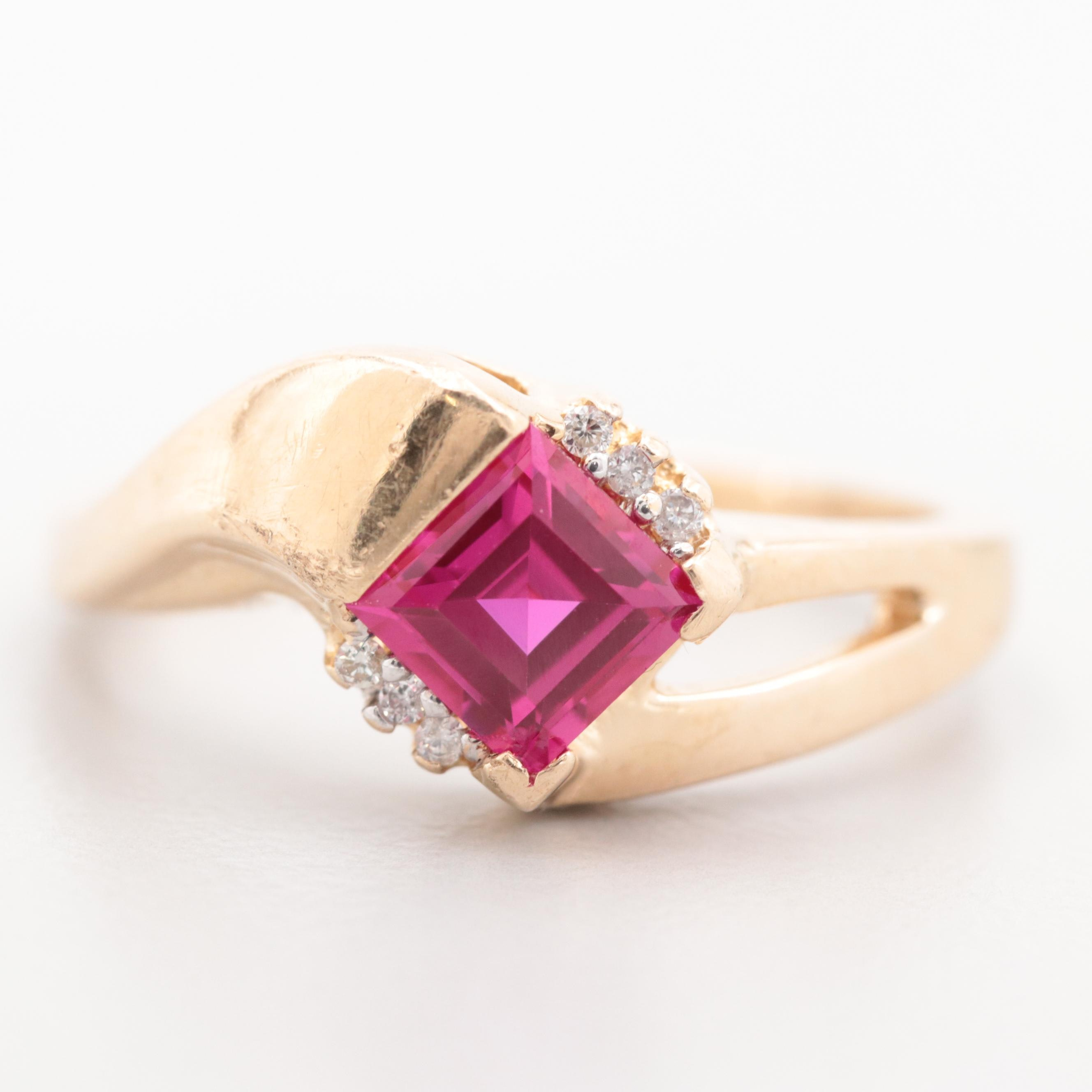 Carla Corp. 14K Yellow Gold Synthetic Ruby and Diamond Ring
