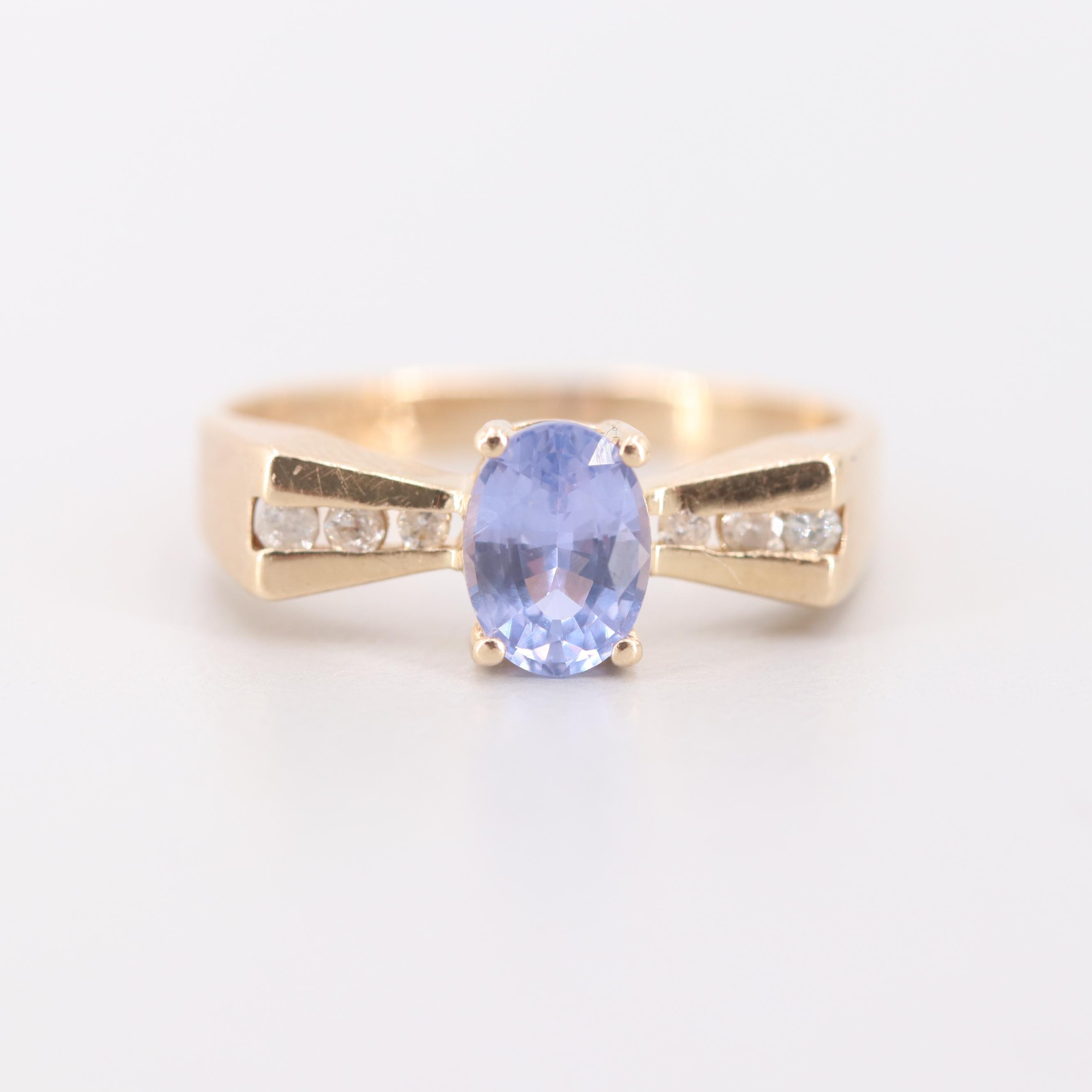 14K Yellow Gold Unheated Violet Sapphire and Diamond Ring