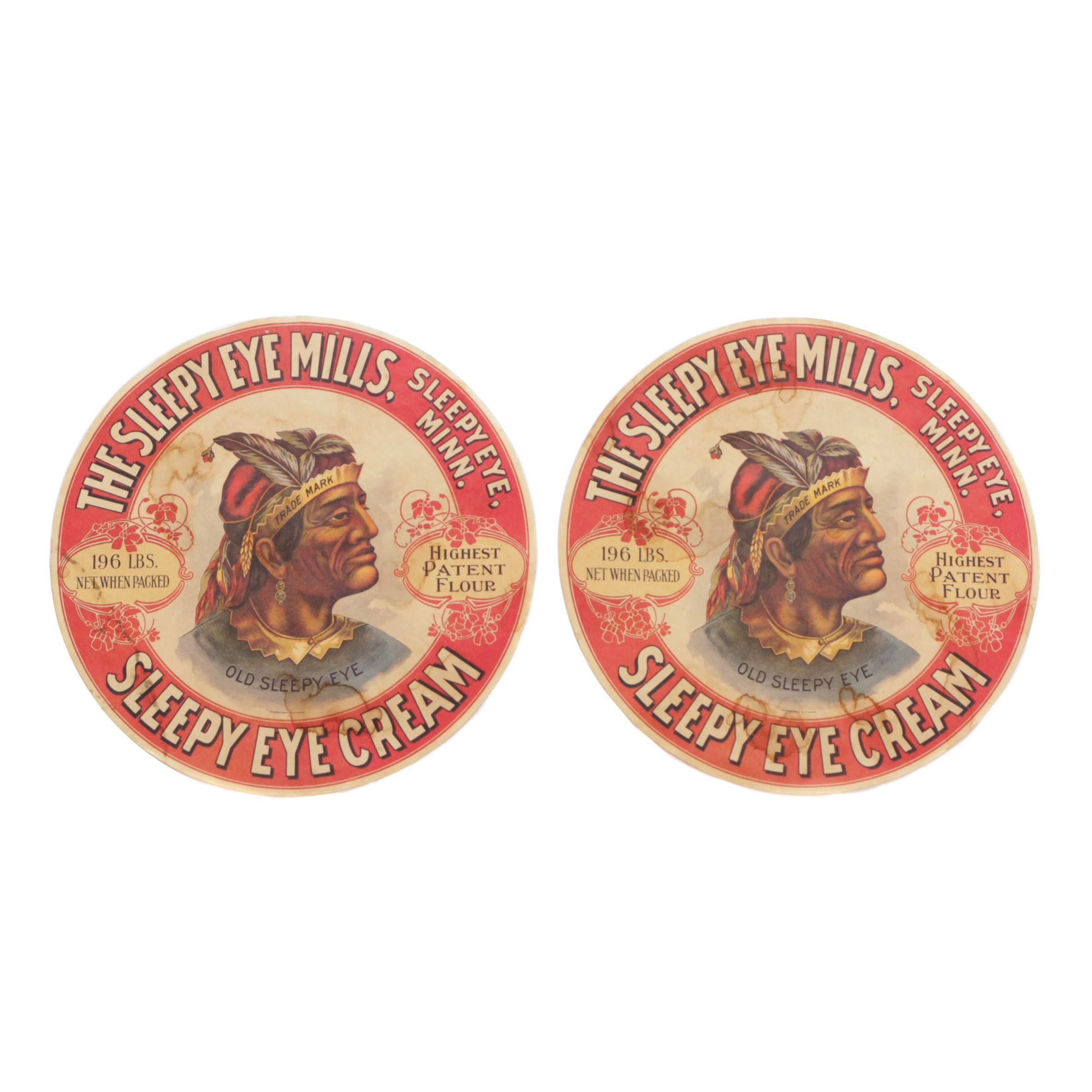 """1900s """"The Sleepy Eye Mills"""" Paper Signs with Image of Native American"""