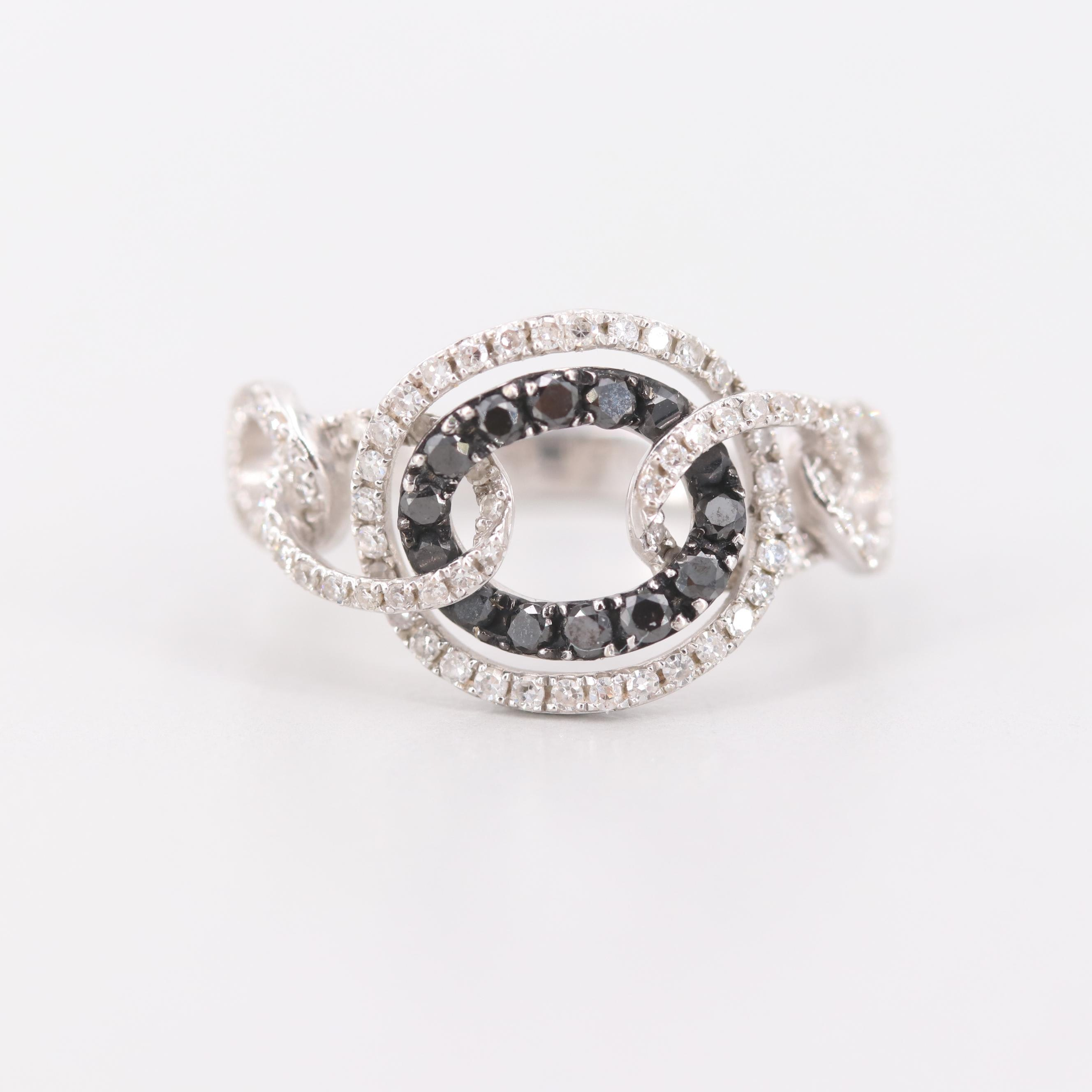Sidney Berman & Company, Inc. 14K White Gold Diamond Interlocking Oval Ring