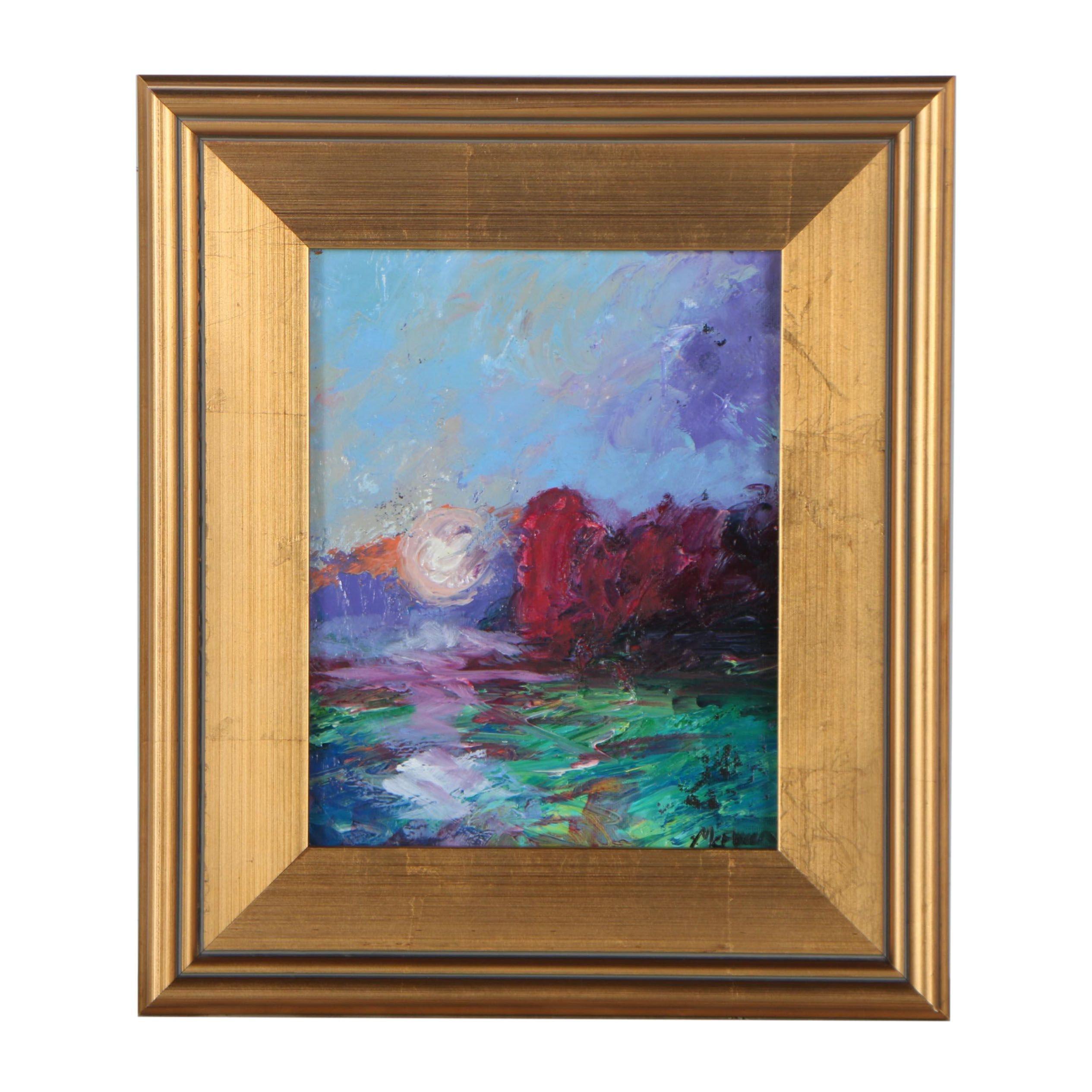 "Claire McElveen Oil Painting ""Dusk Moon"""