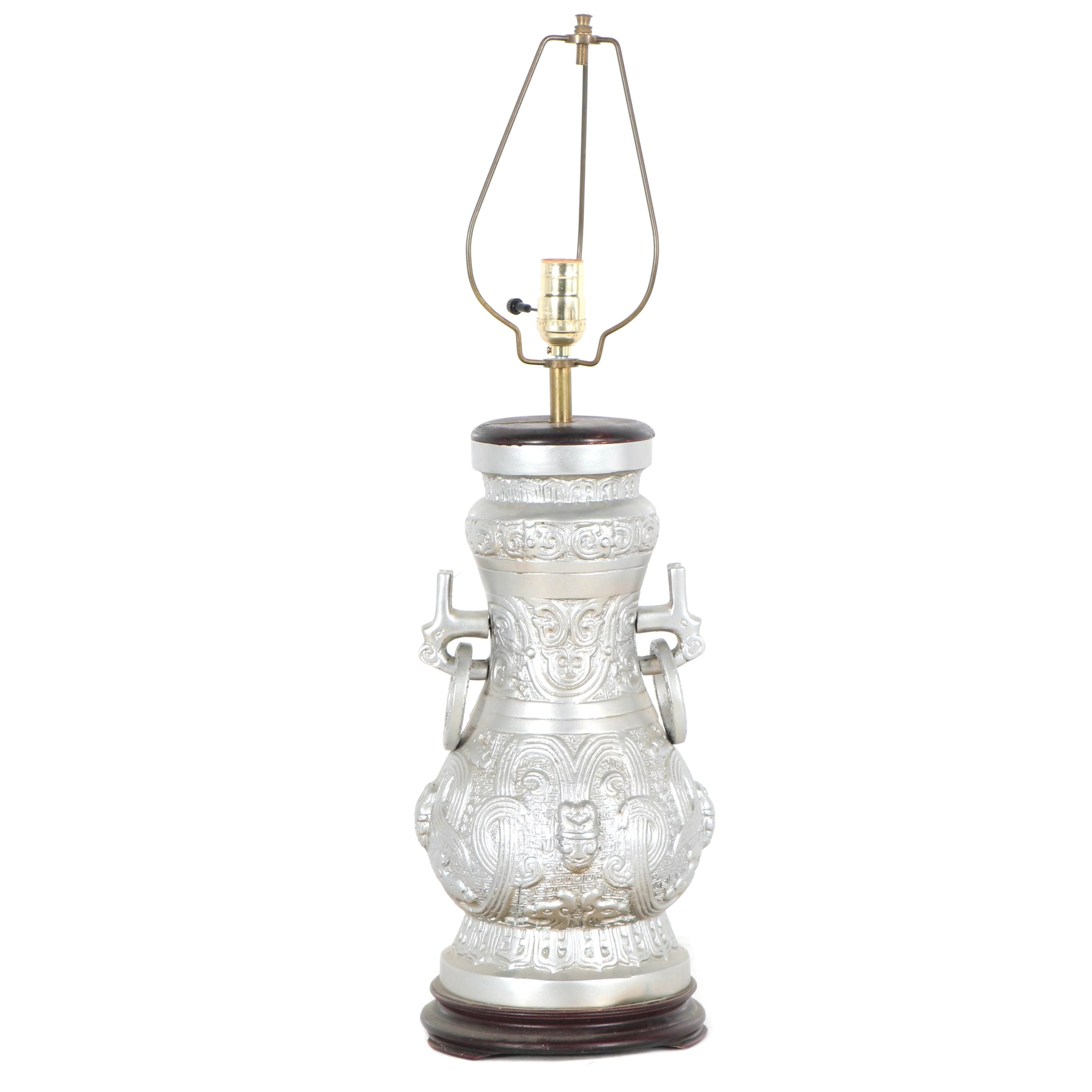 Chinoiserie Silver Painted Metal Table Lamp, Late 20th Century