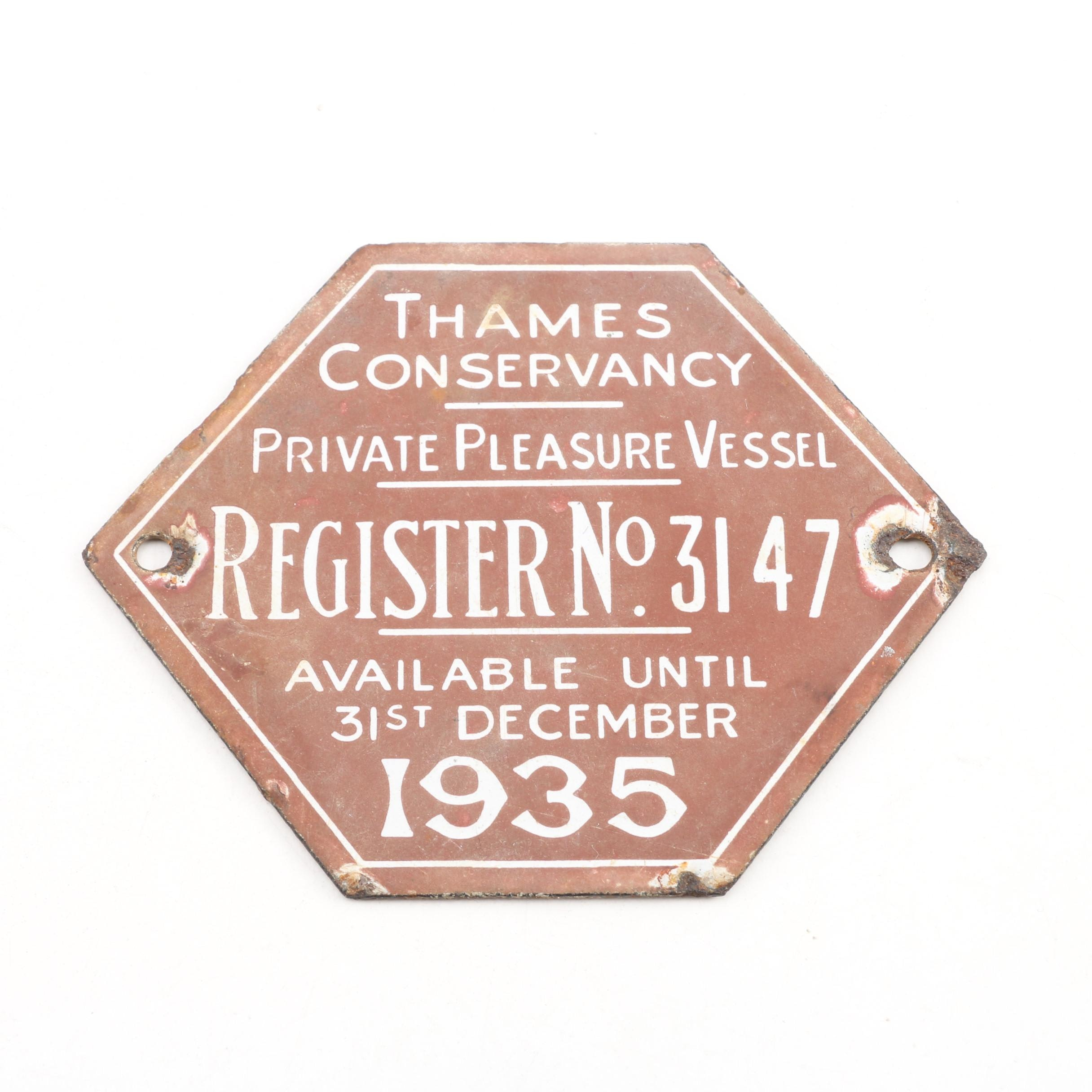 Thames Conservancy Boat Licence Plate, 1935