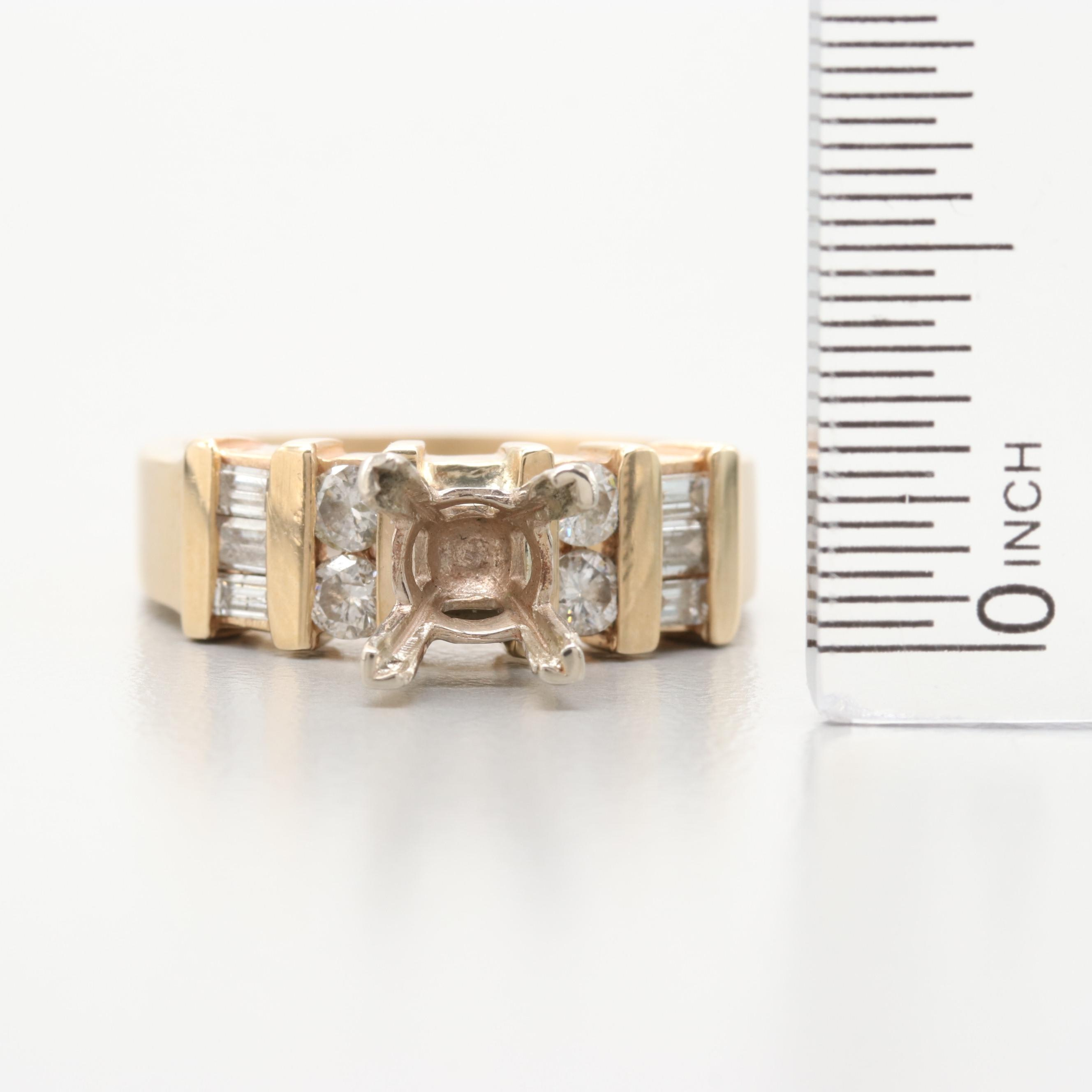 14K Yellow Gold Diamond Semi-Mount Ring