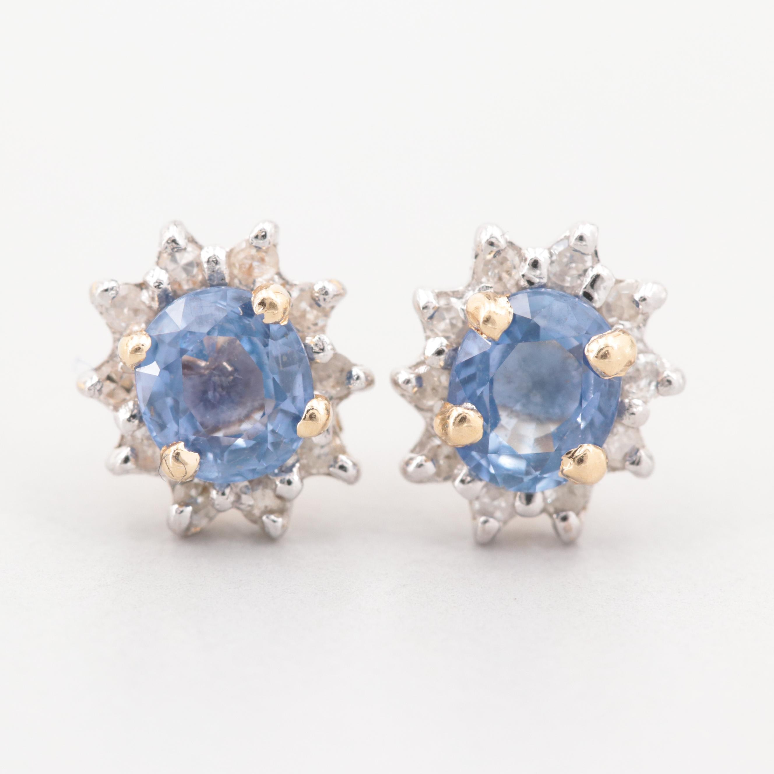 14K Yellow Gold Blue Sapphire and Diamond Earrings
