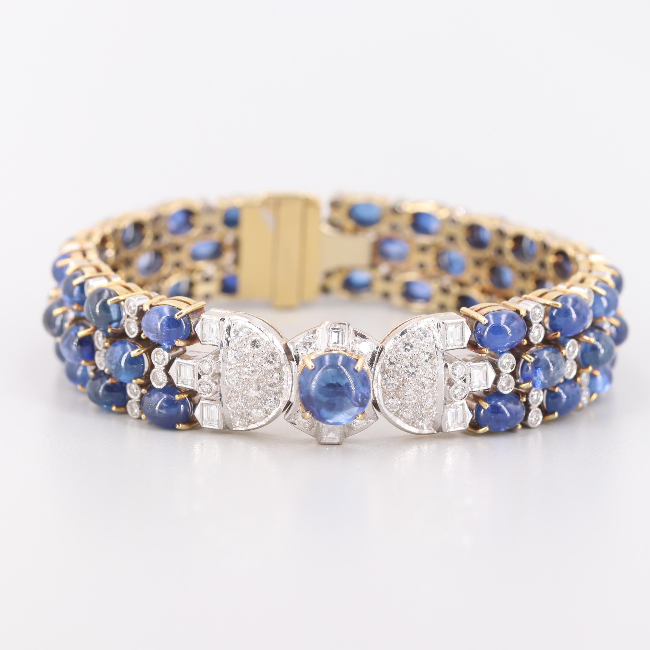 18K Yellow Gold 53.48 CTW Blue Sapphire and 4.25 CTW Diamond Bracelet