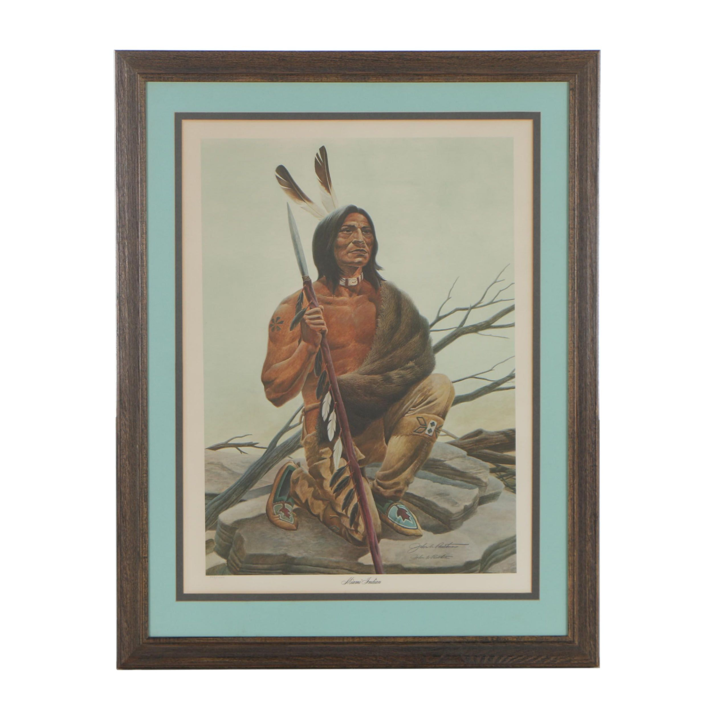 "John Ruthven Limited Edition Offset Lithograph ""Miami Indian"""
