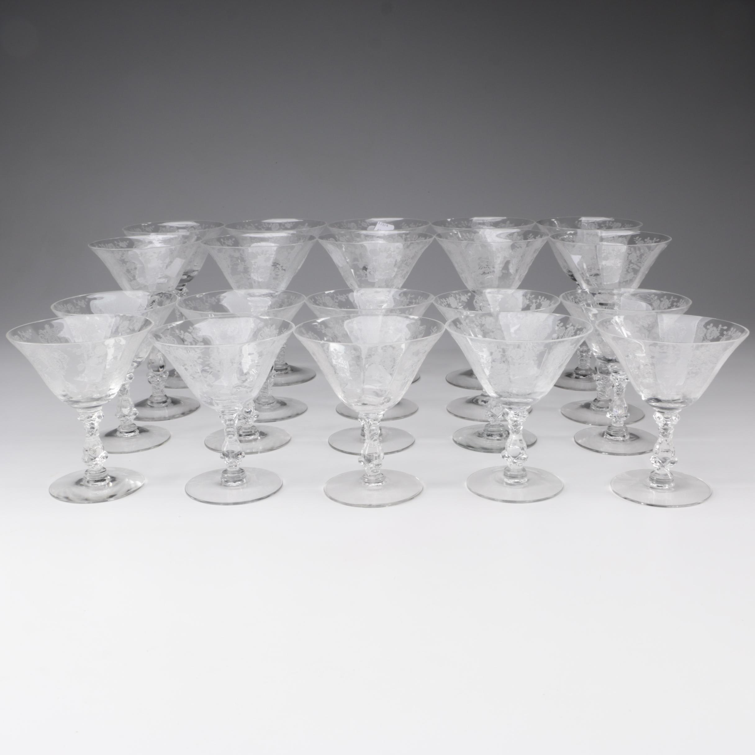 "Cambridge ""Rose Point Clear"" Crystal Stemware, Mid-Century"