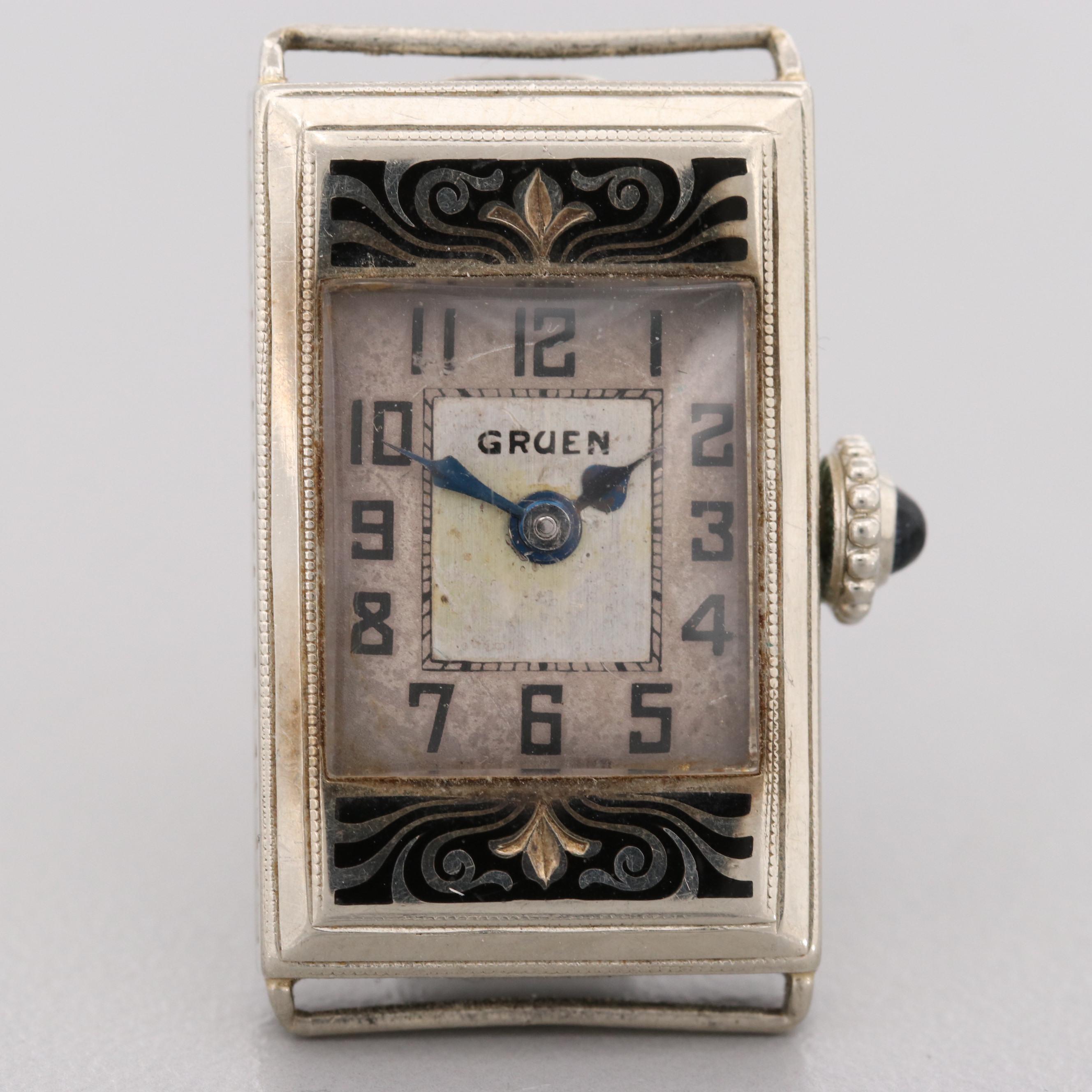 Gruen 14K White Gold Niello Style Wristwatch