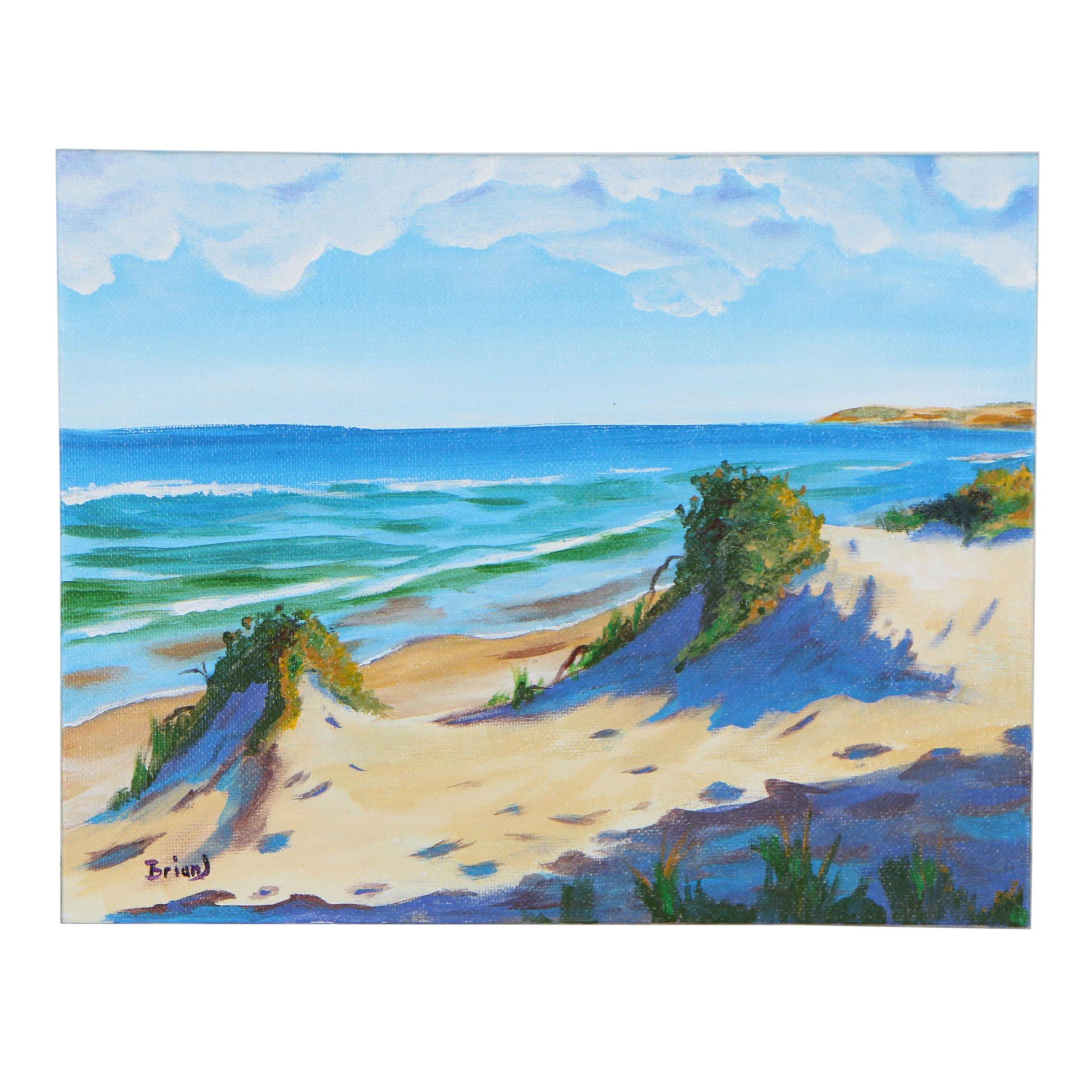 """Brian Johnpeer Acrylic Painting """"Gentle Waves"""""""