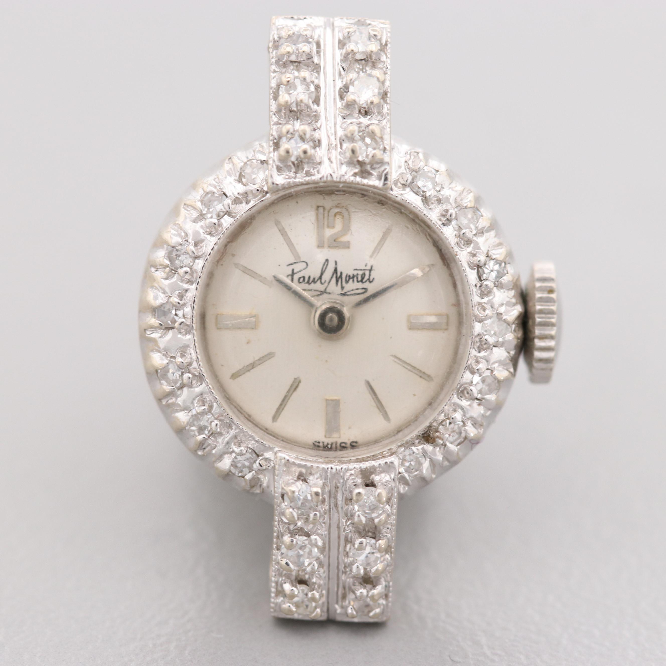 Paul Monet 14K White Gold Diamond Wristwatch