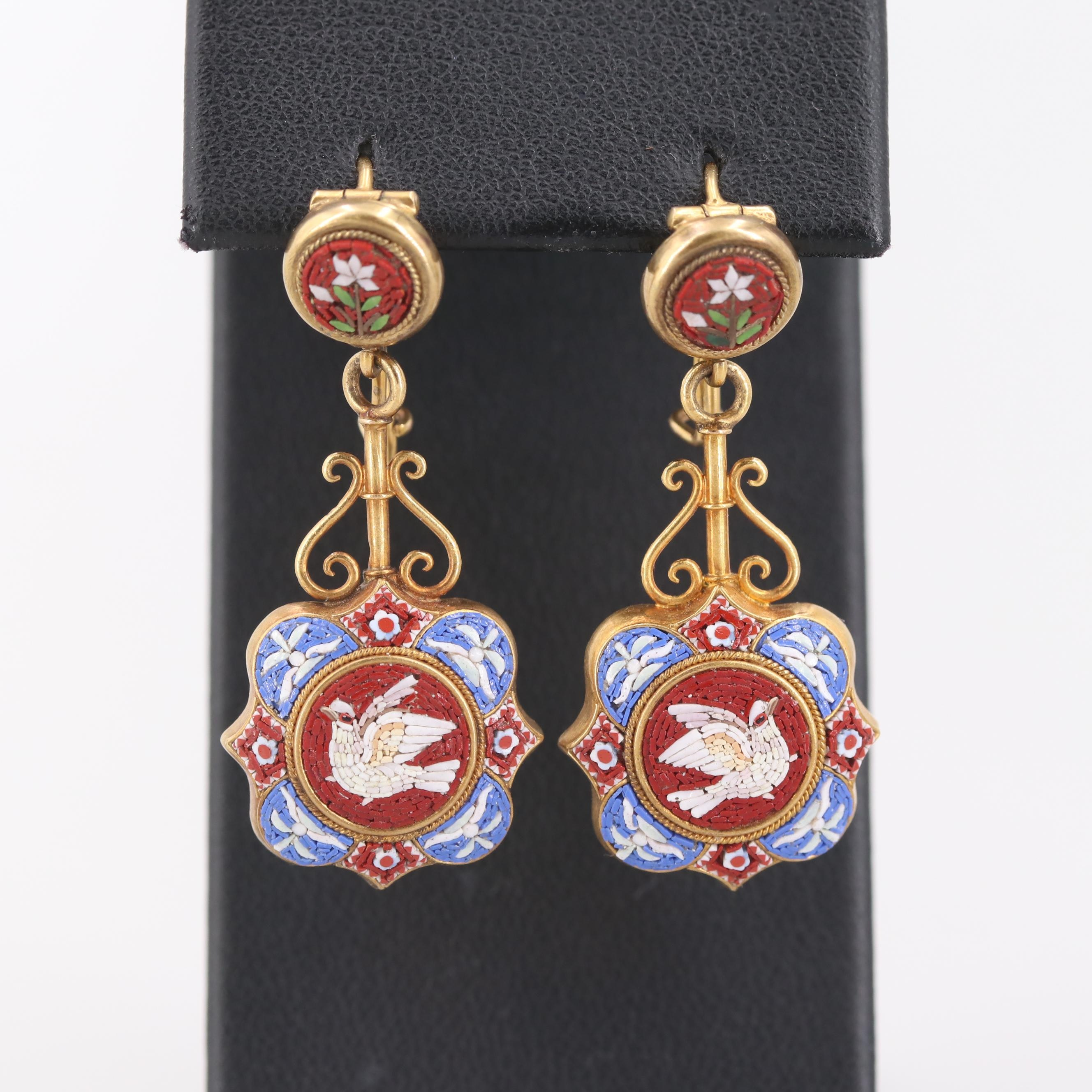 Circa 1870s 14K and 18K Yellow Gold Glass Micromosaic Drop Earrings