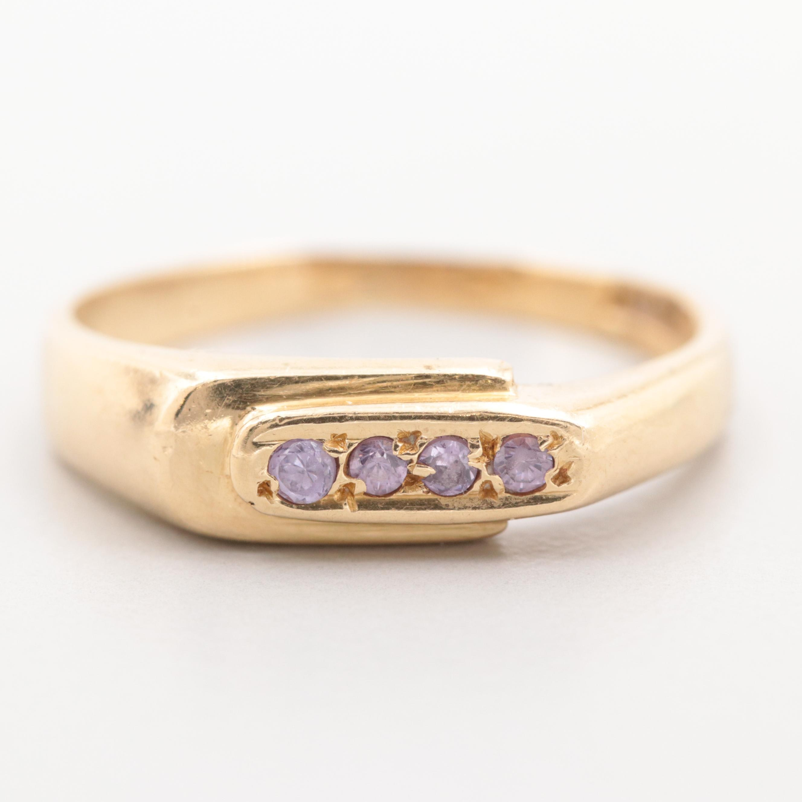 Egyptian 18K Yellow Gold Glass Ring