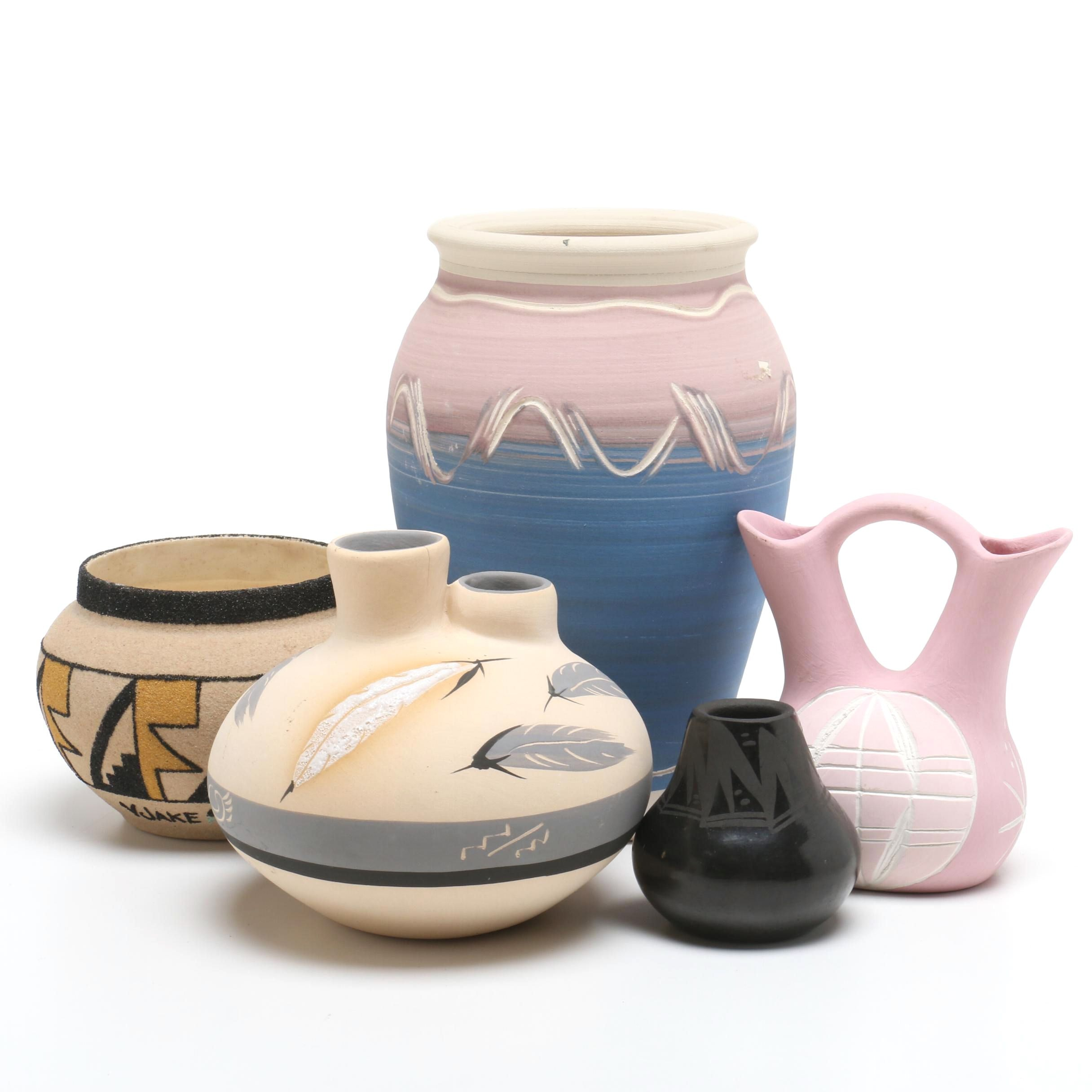 Native American Acoma, Santa Clara and Other Earthenware Vessels