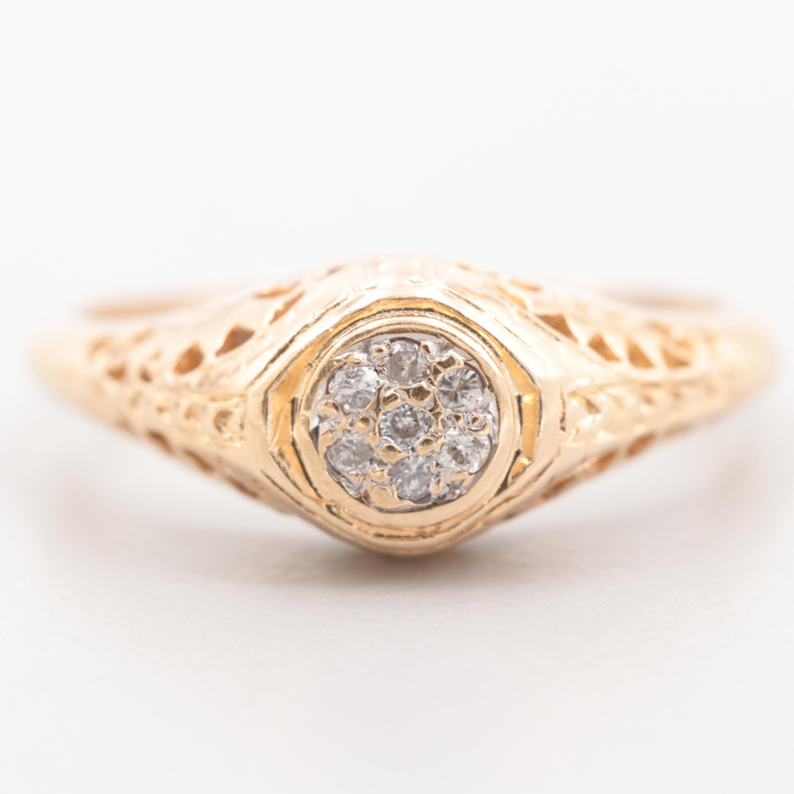 Vintage 14K Yellow Gold Diamond Cluster Ring With Openwork Setting