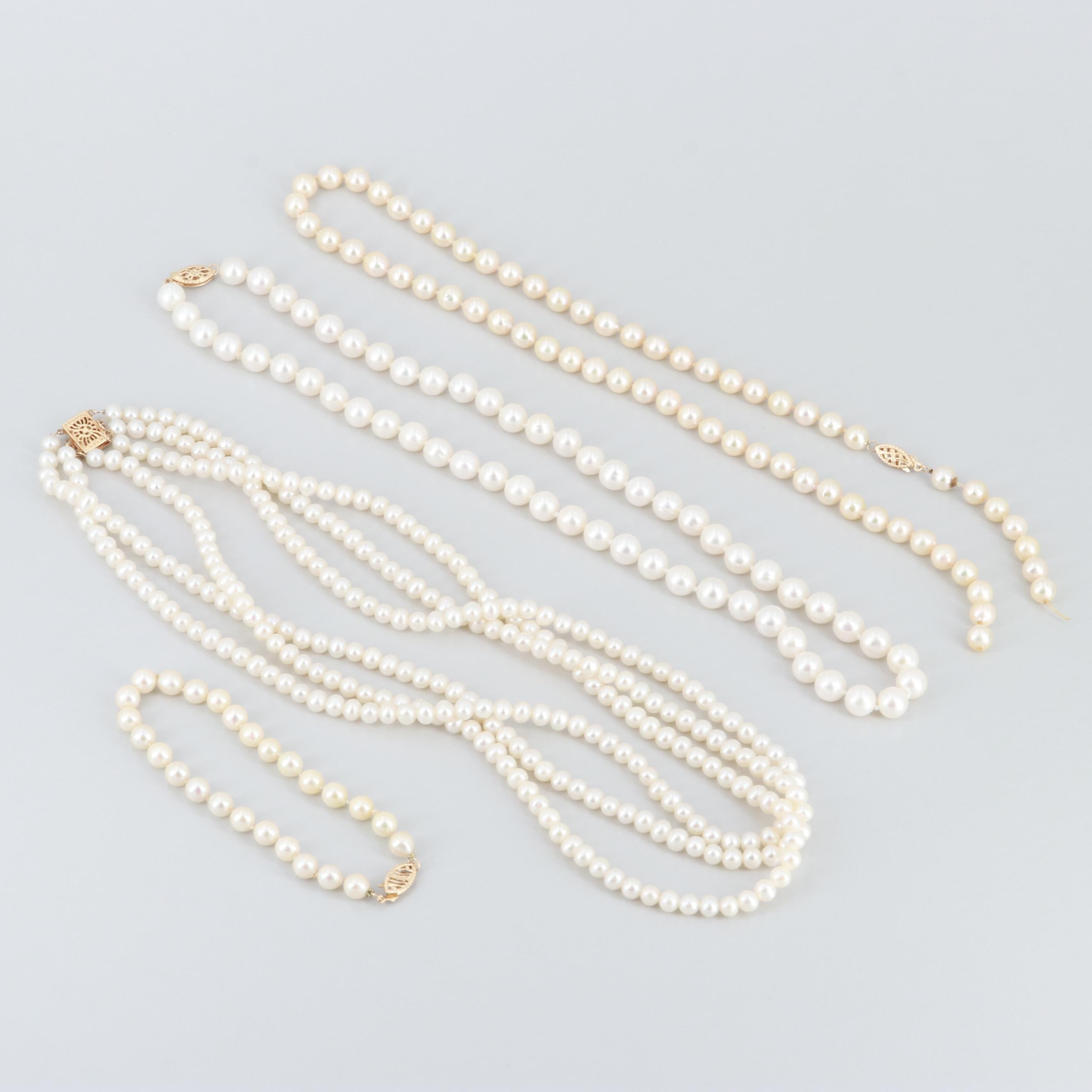 14K Yellow Gold Cultured Pearl Necklaces and Bracelet