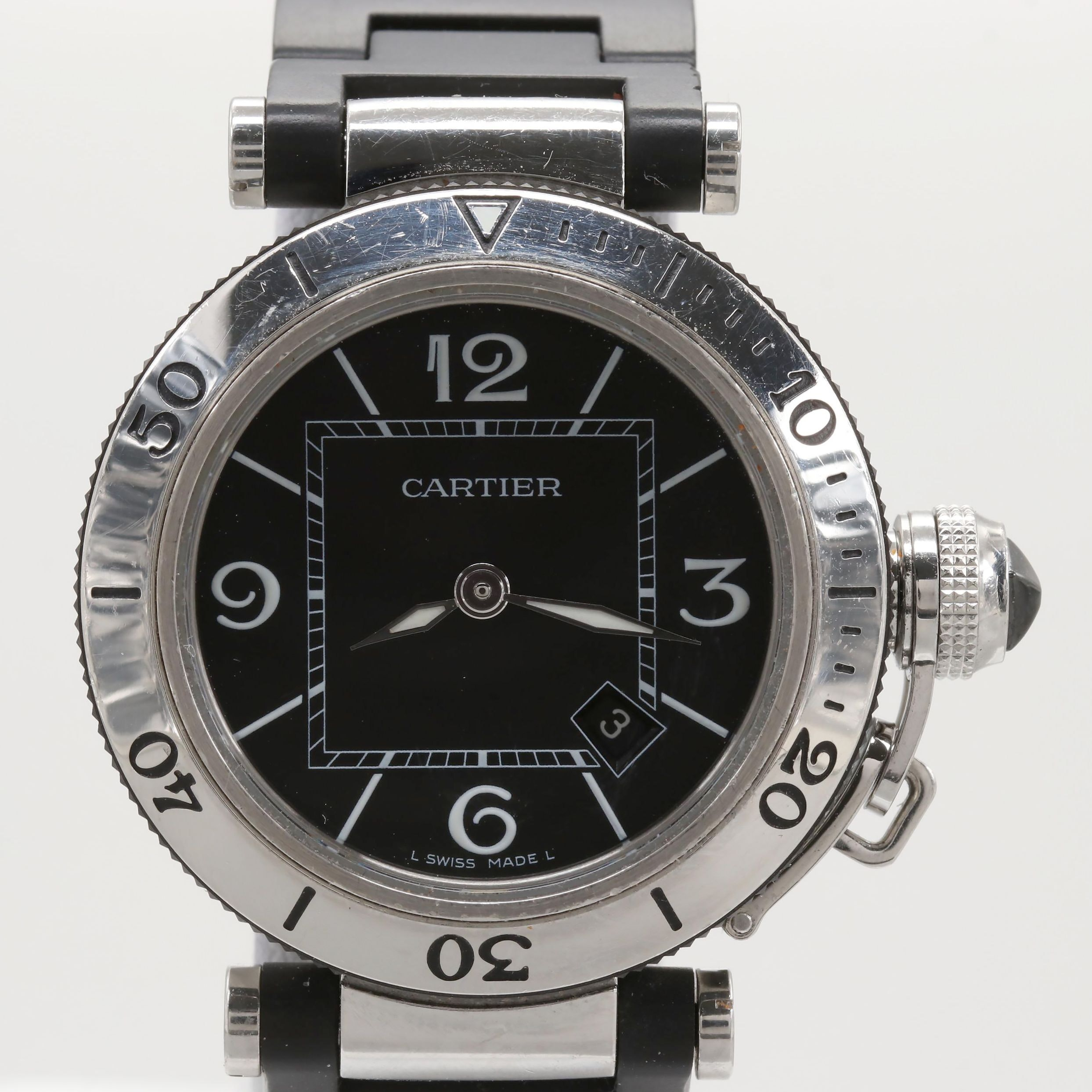 Pasha de Cartier Seatimer Stainless Steel Wristwatch With Date Window