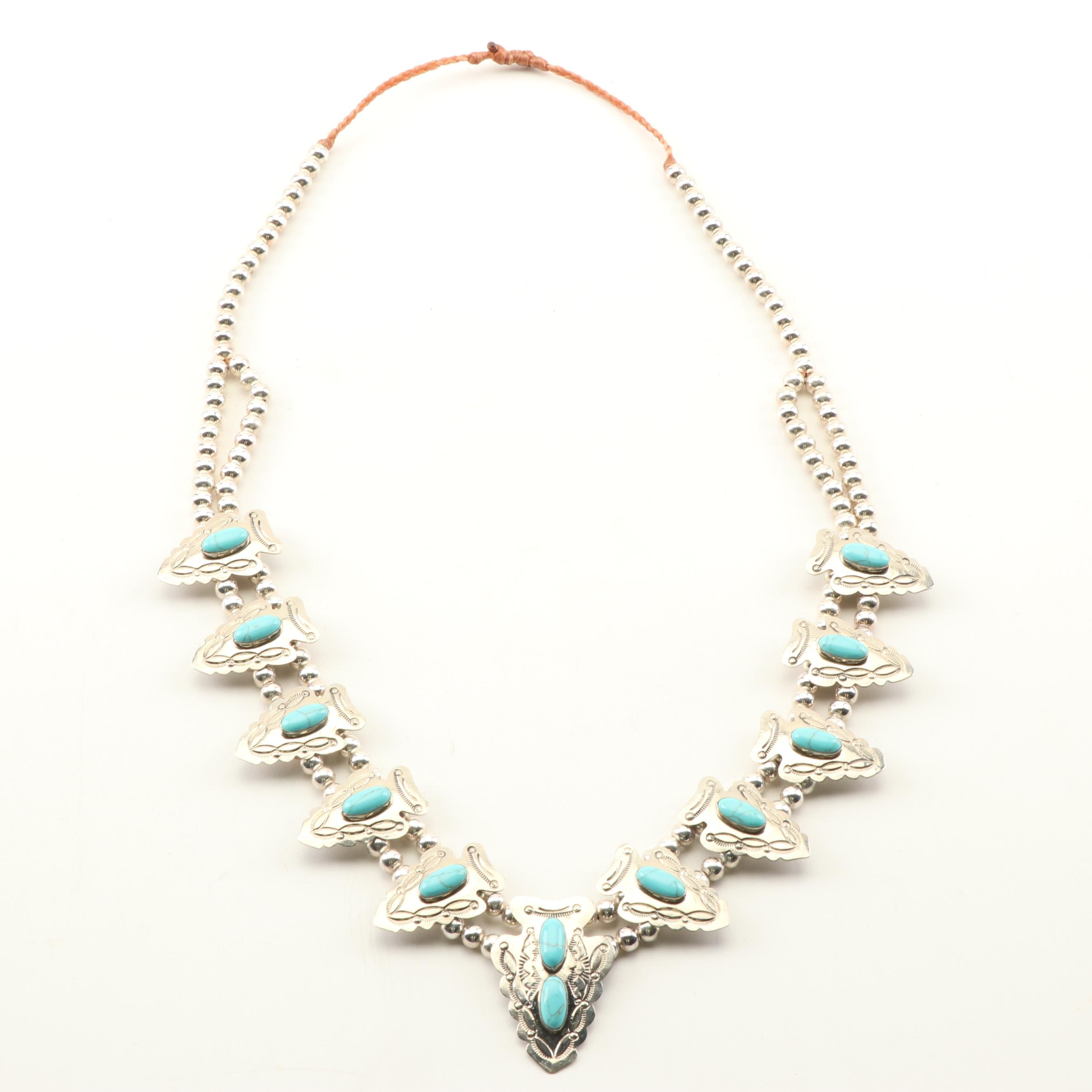 Silver Tone Simulated Turquoise Squash Blossom Necklace