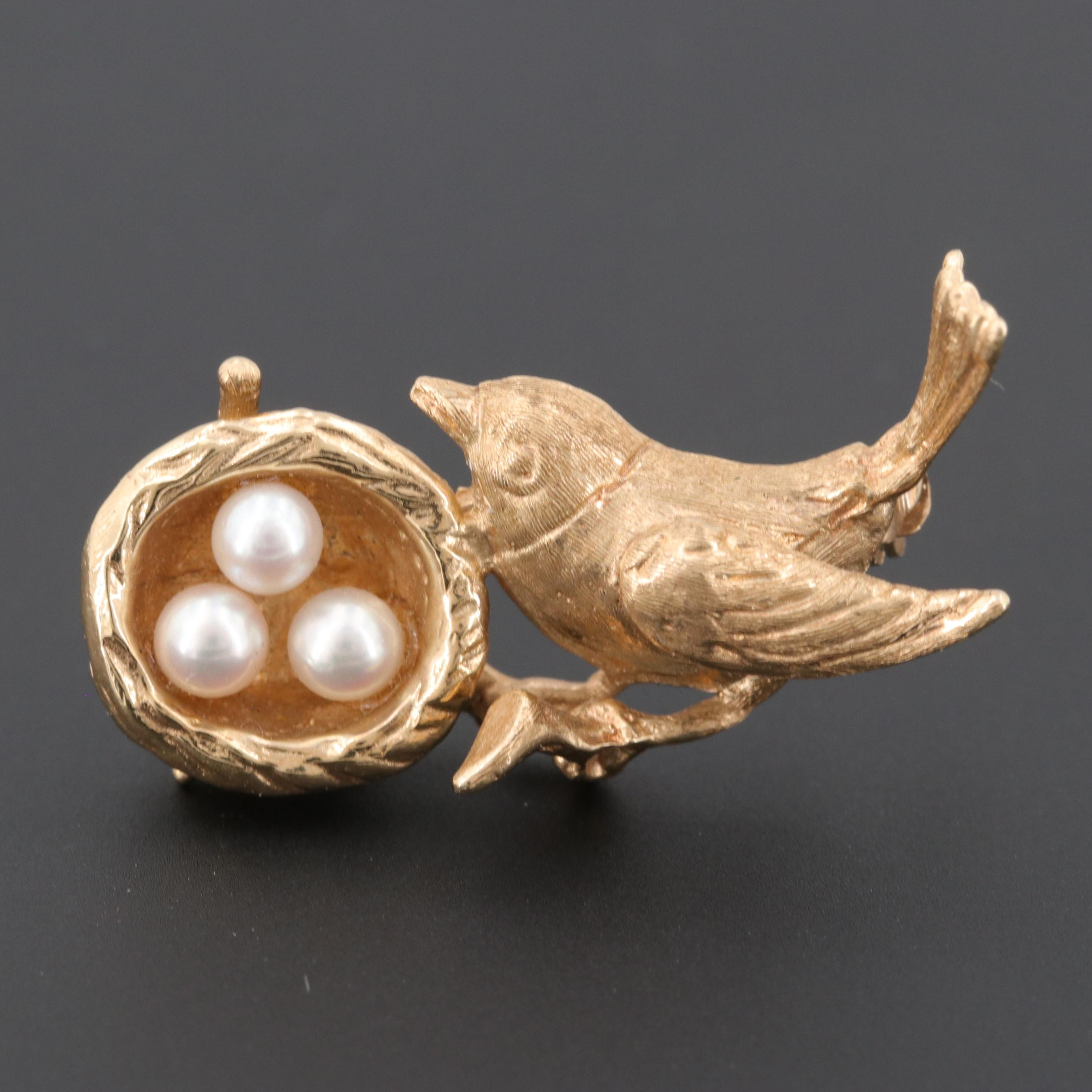 14K Yellow Gold Cultured Pearl Bird and Nest Brooch