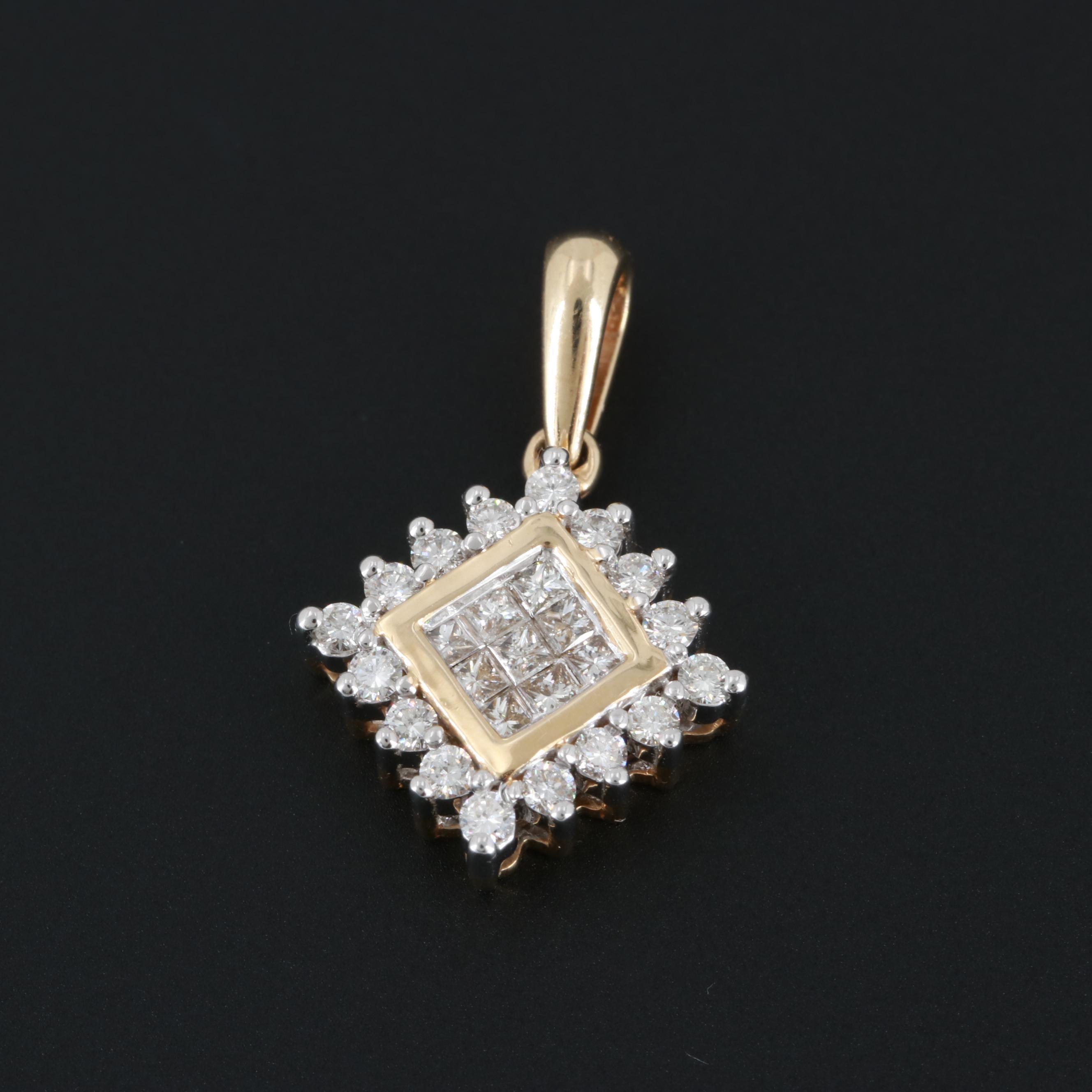 14K Yellow Gold Diamond Pendant