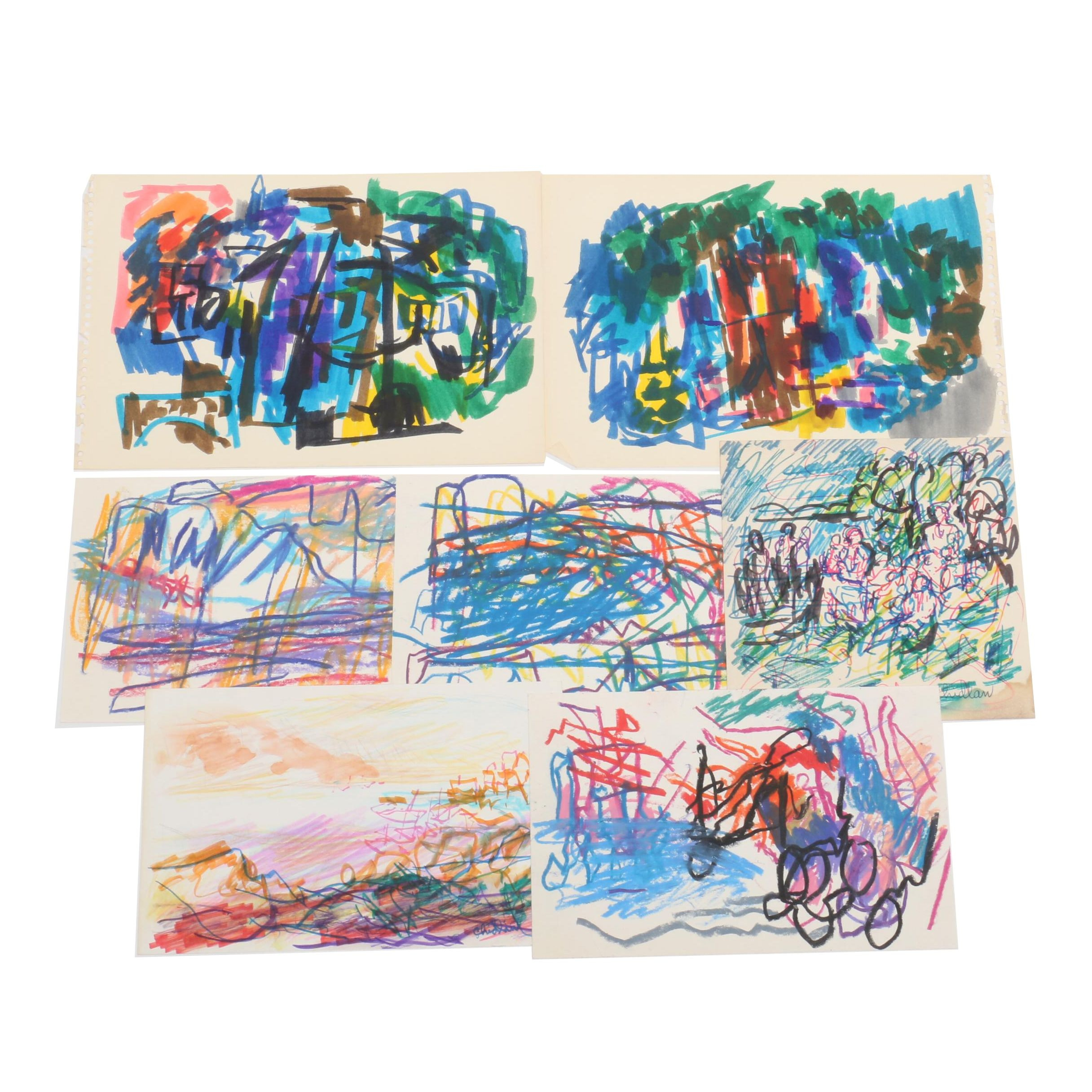 Paul Chidlaw Abstract Expressionist Drawings