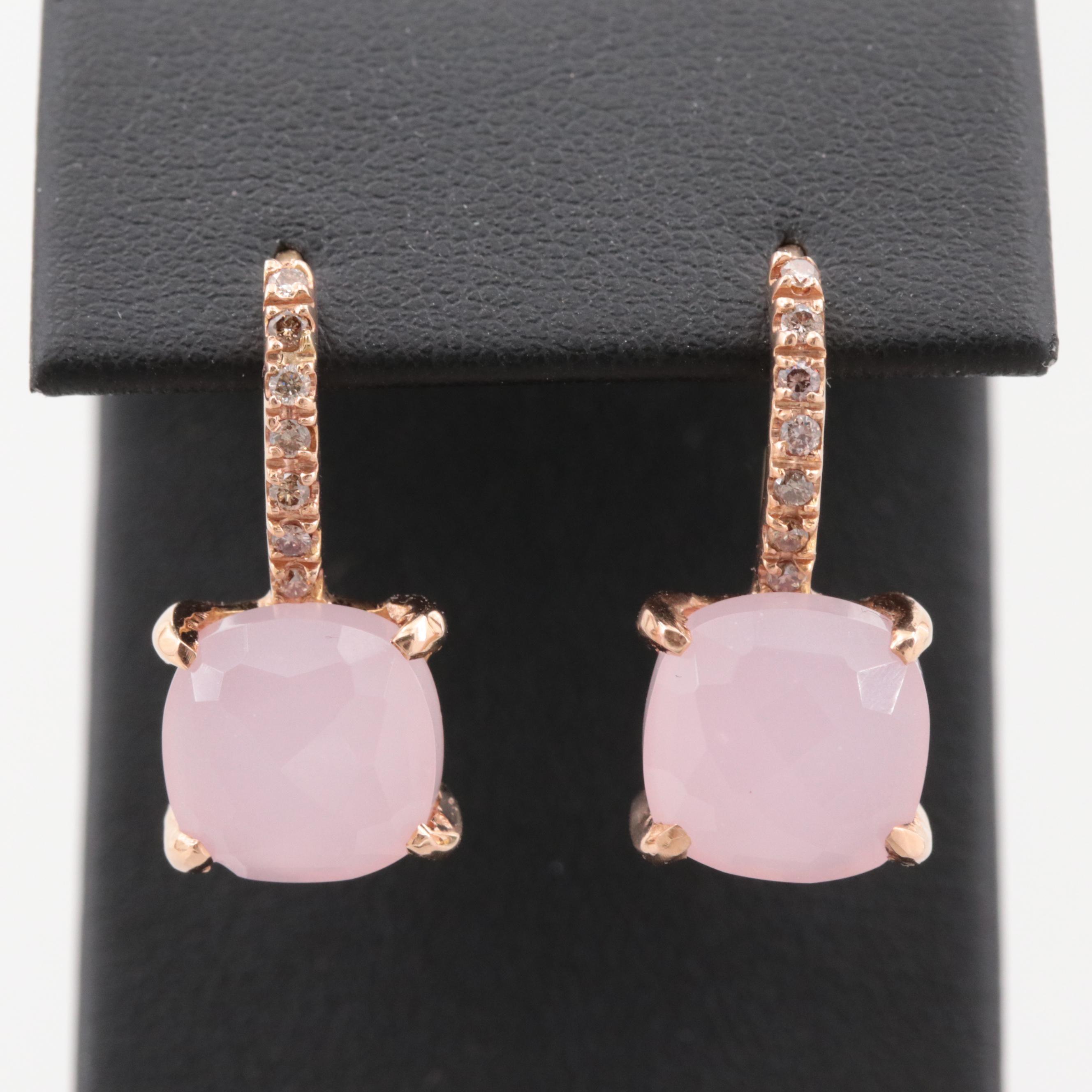 18K Yellow Gold Glass and Diamond Drop Earrings