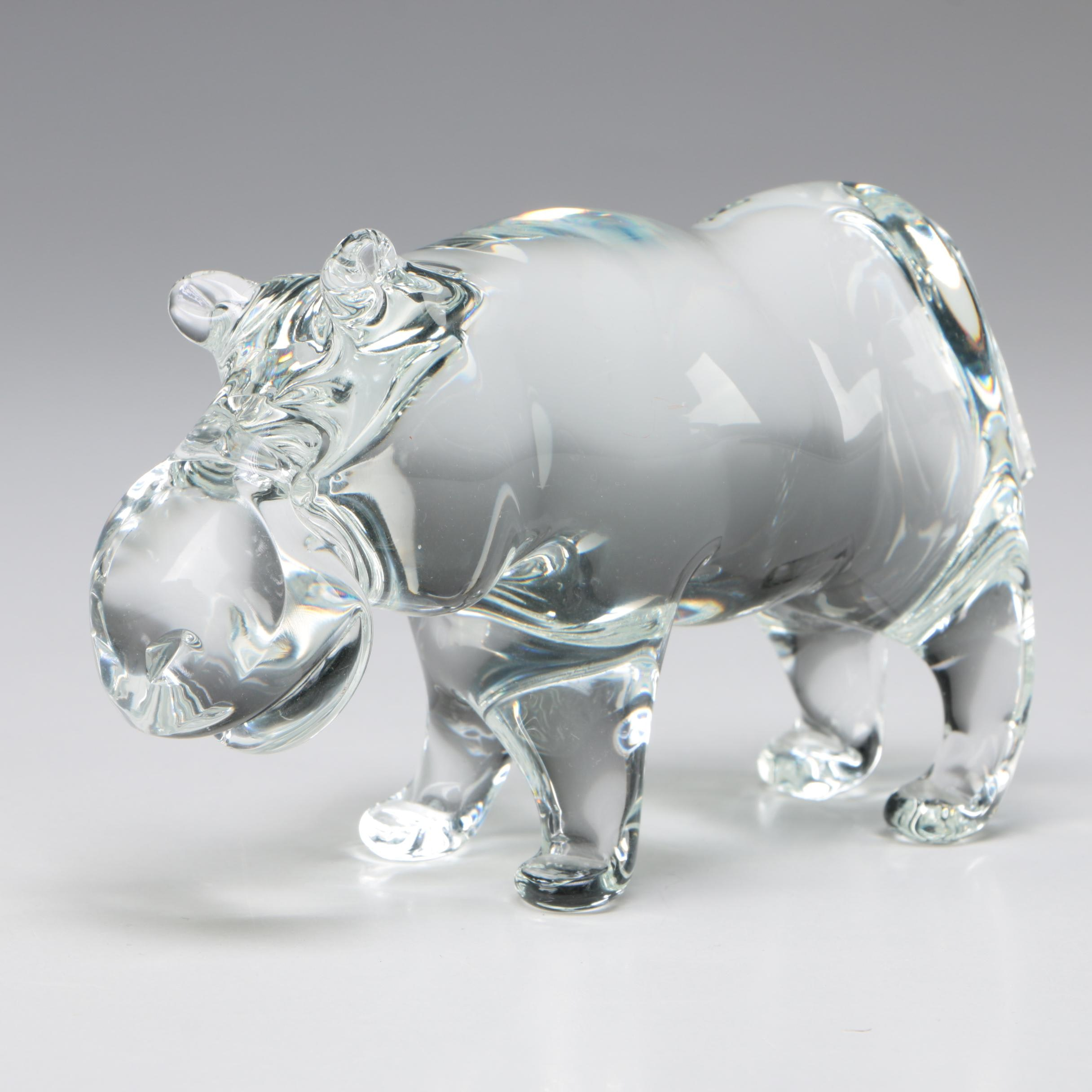"Licio Zanetti Signed Murano Art Glass ""Hippo"" Figurine, 1956 - 1989"