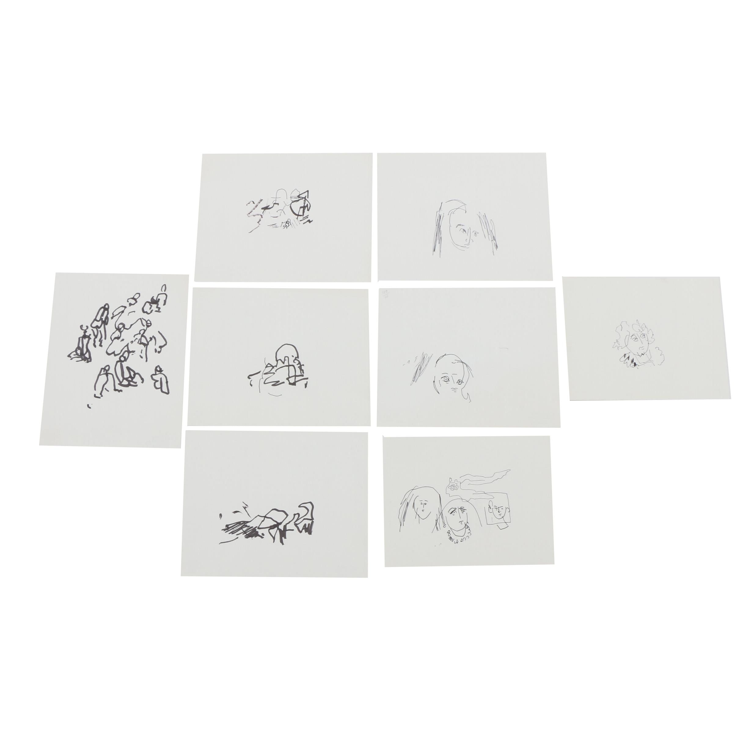 Paul Chidlaw Abstract and Figural Line Drawings
