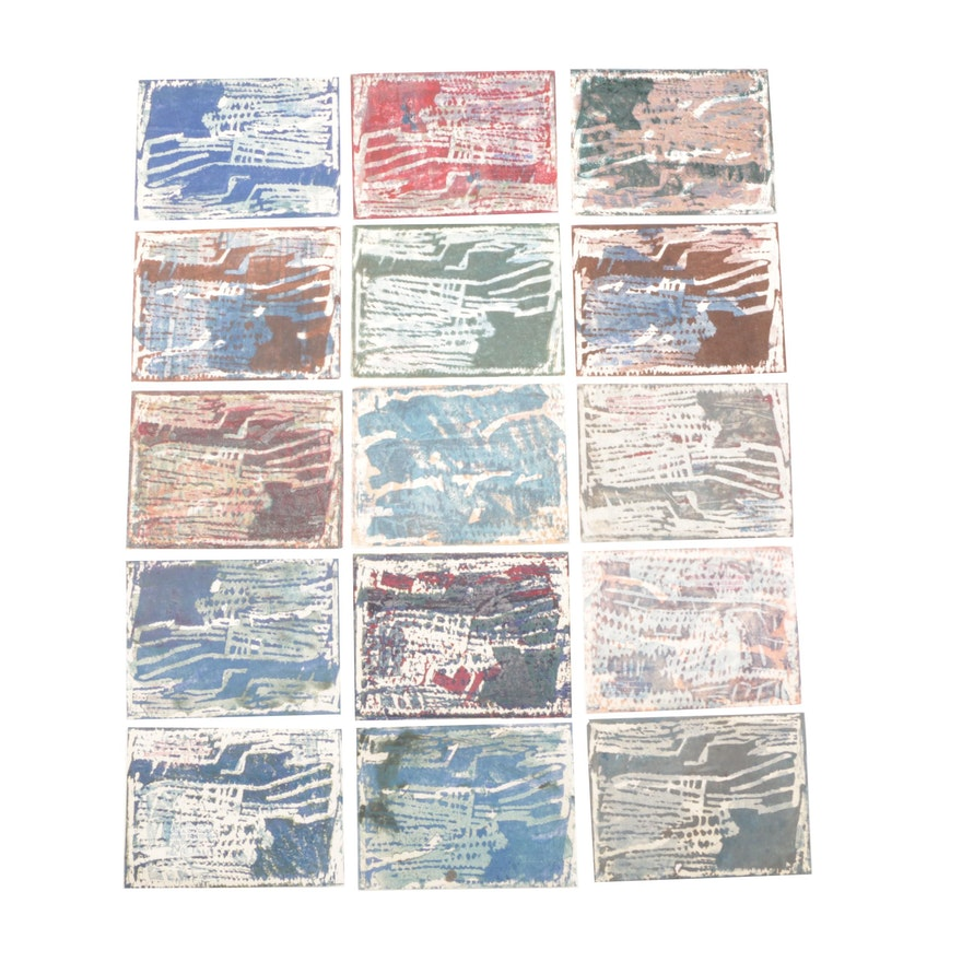 Paul Chidlaw Abstract Collagraph Prints