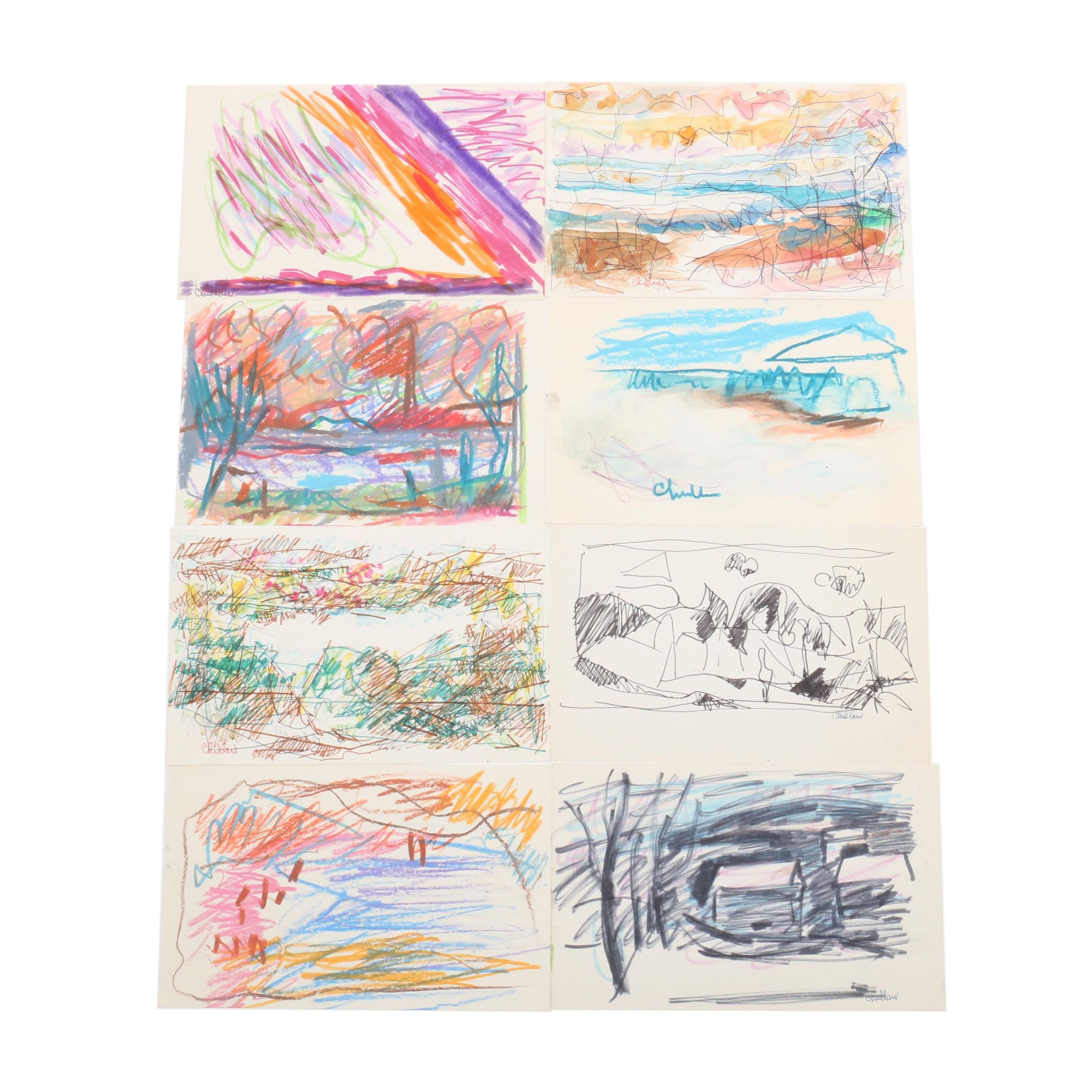 Paul Chidlaw Mixed Media Abstract Expressionist Drawings