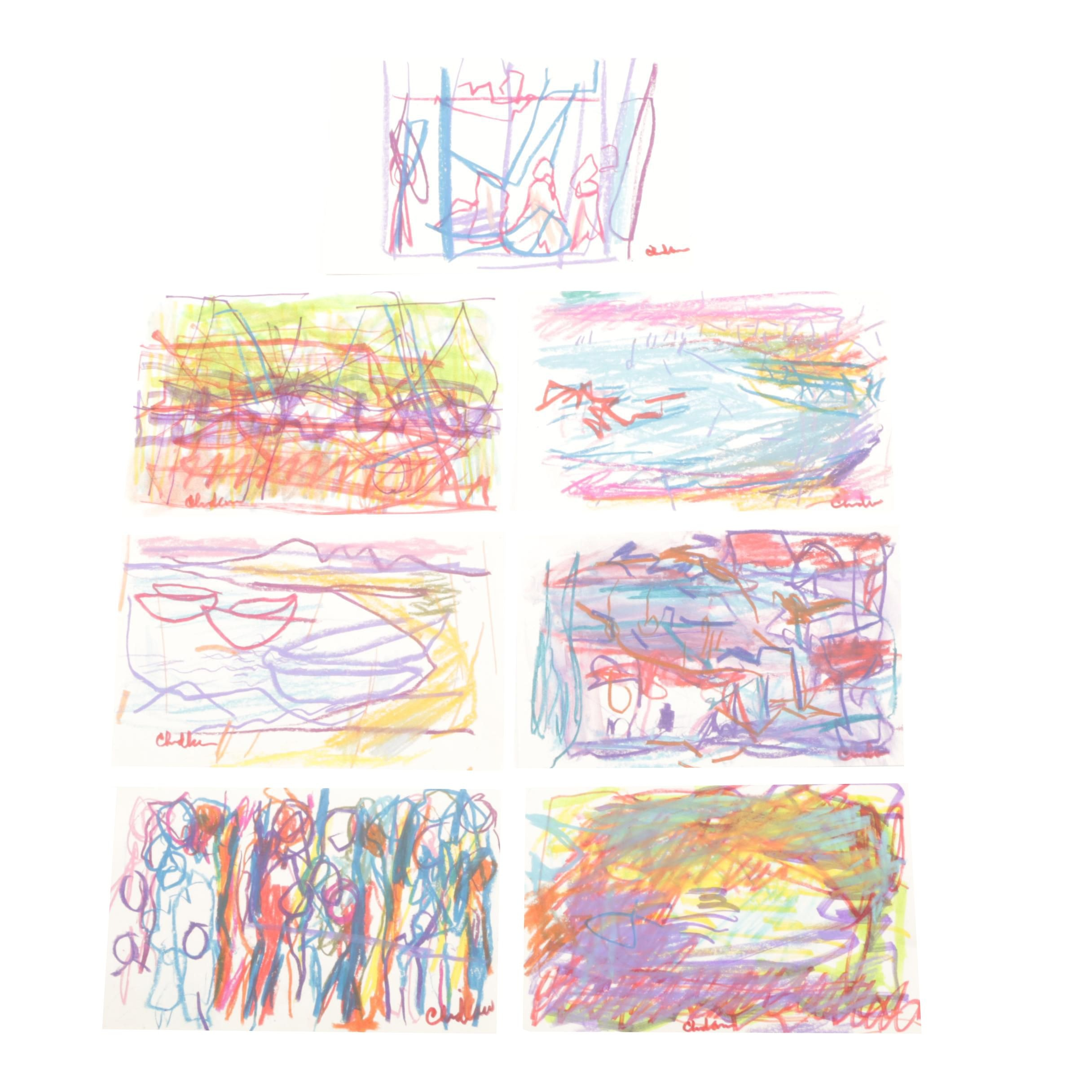 Paul Chidlaw Abstract Expressionist Mixed Media Drawings