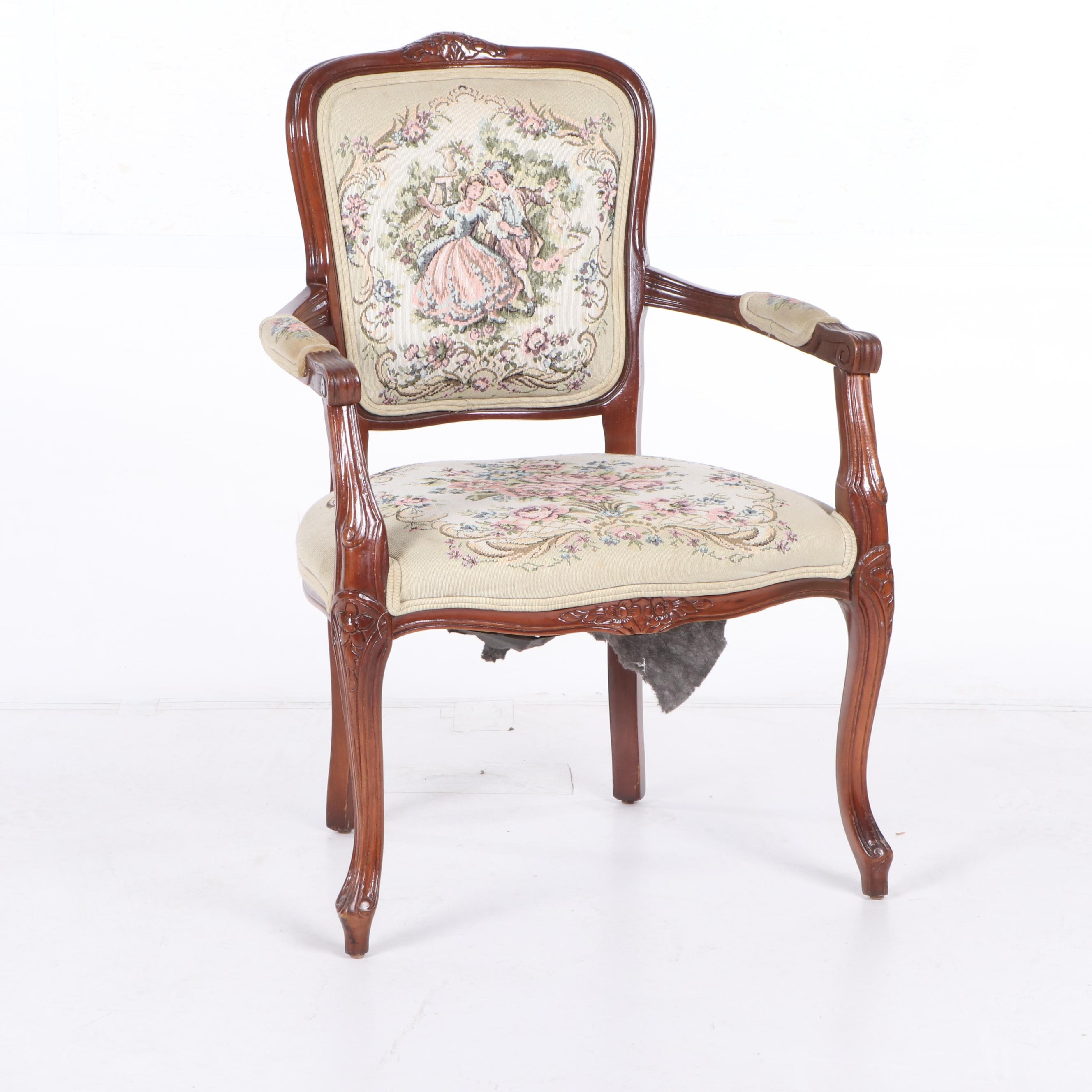 Louis XVI Style Upholstered Armchair, 20th Century