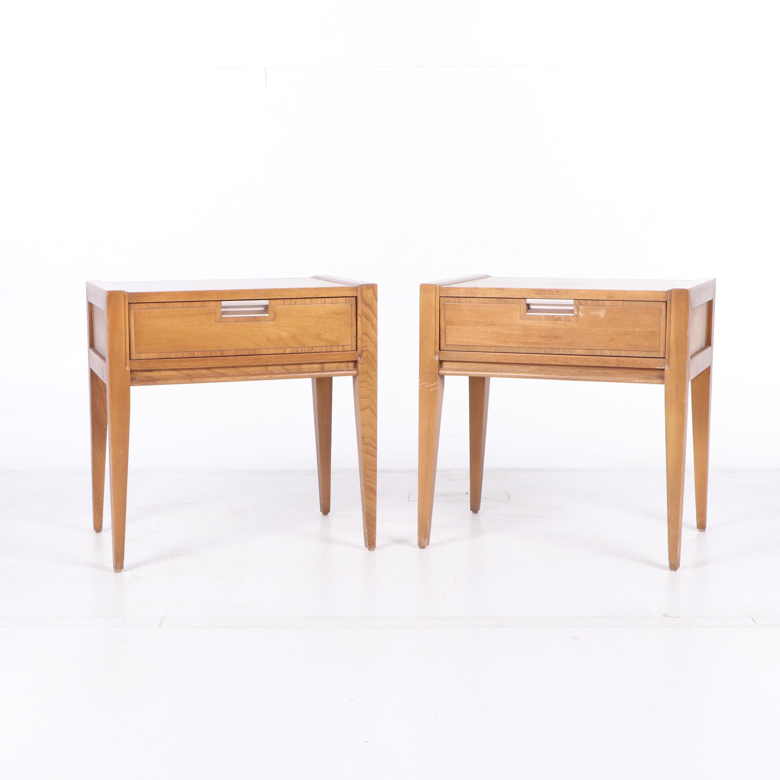 Basic-Witz Mid-Century Pecan Wood Side Tables