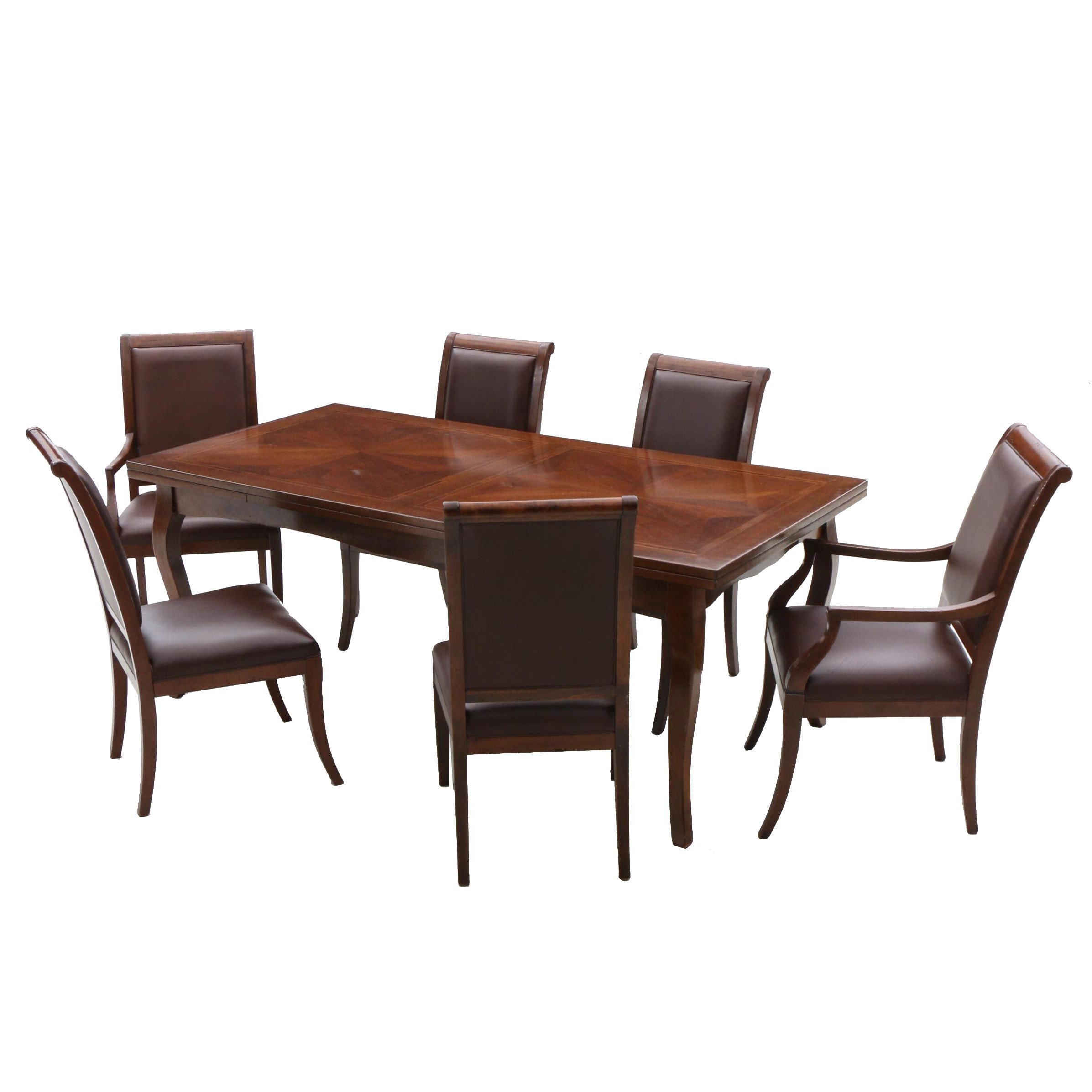 Arhaus Furniture Drawl-Leaf Table and Leather Upholstered Chairs in Walnut