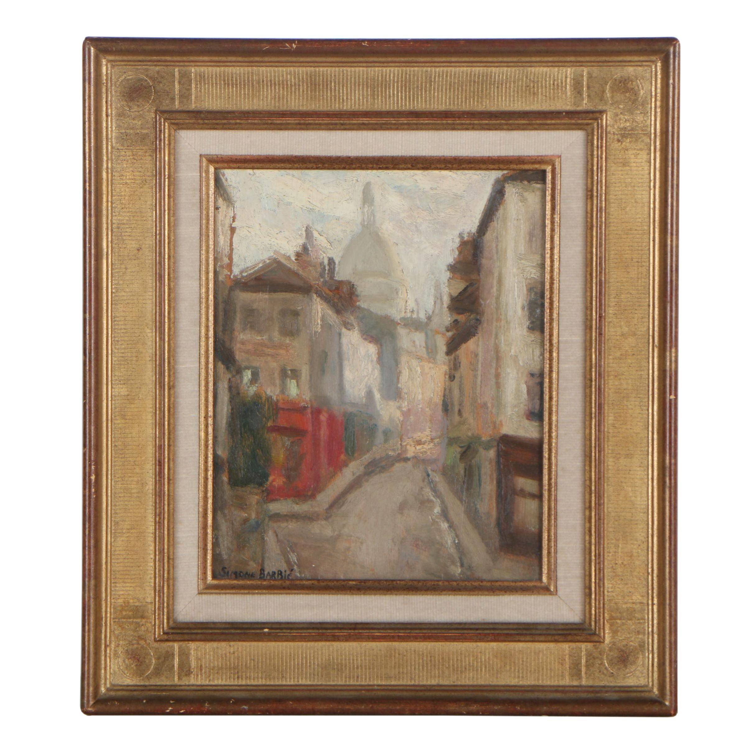 "Simone Barbié Oil Painting ""Street in Montmartre"""