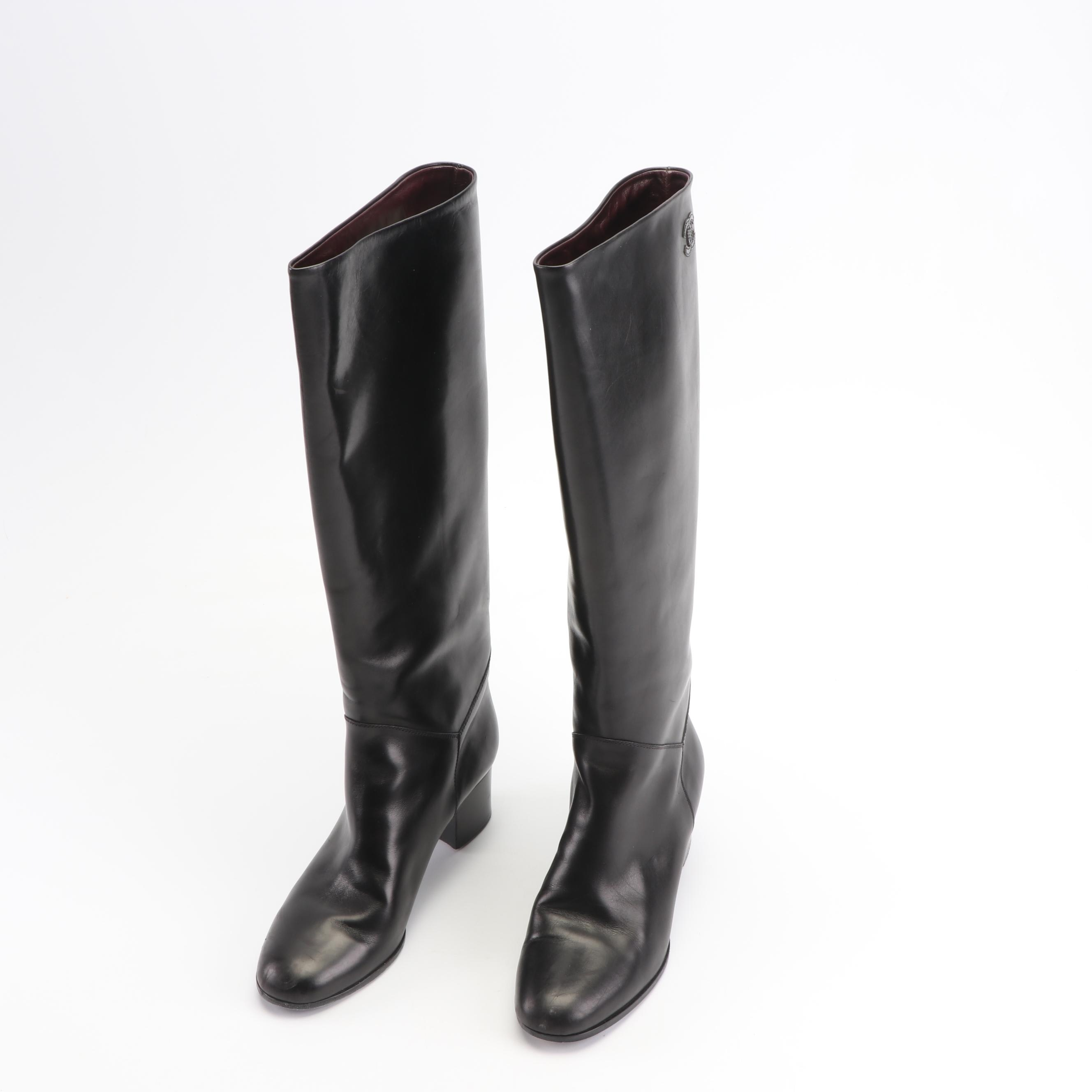 Women's Chanel Black Leather Tall Boots, Made in Italy