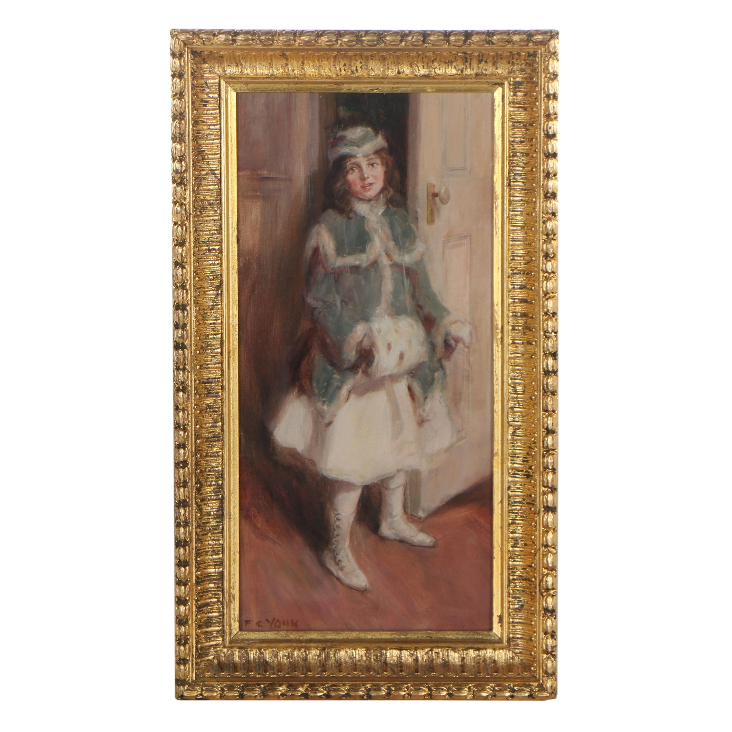 "Frederick Coffay Yohn Oil Painting ""Young Lady with Muff """