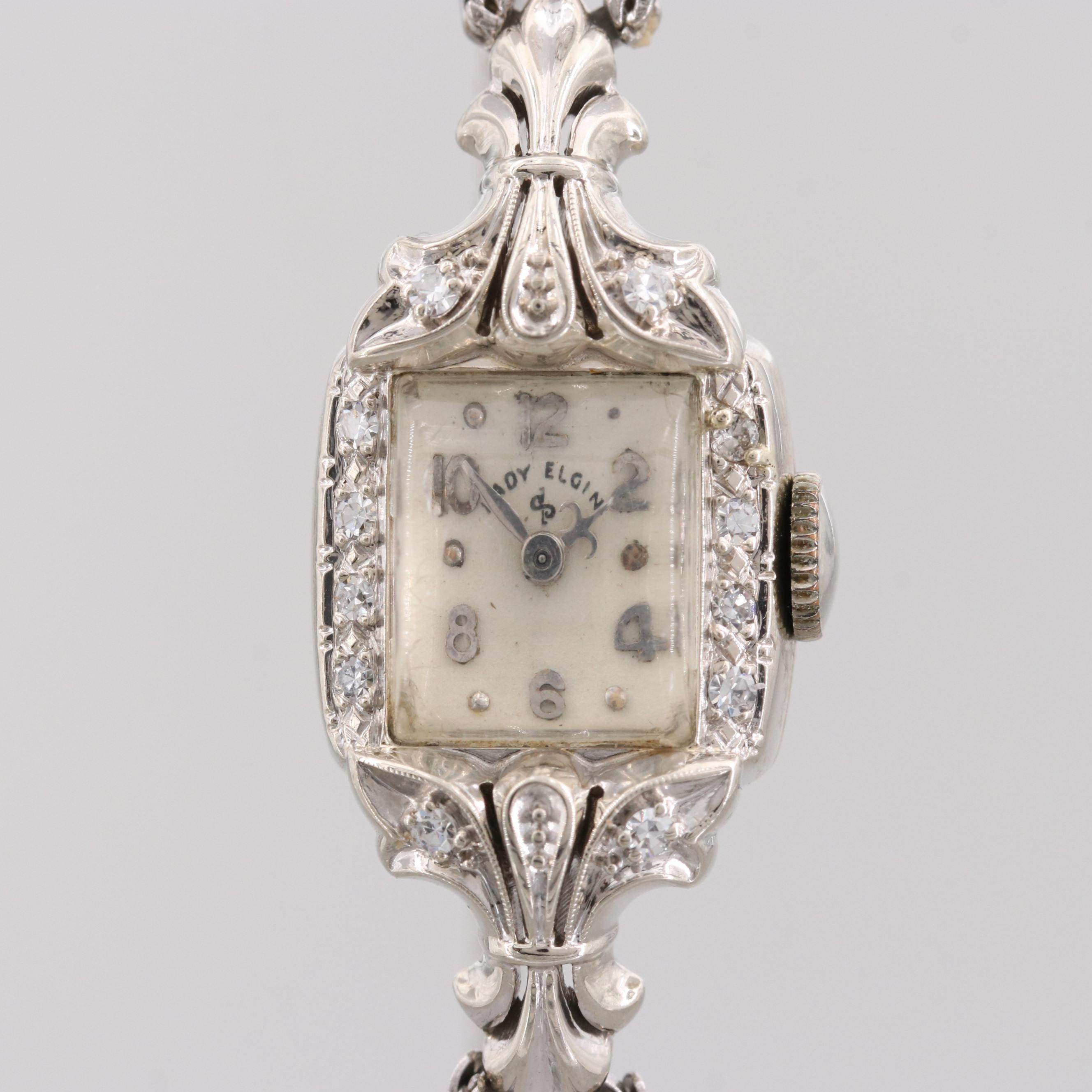 Lady Elgin 14K White Gold Diamond Wristwatch