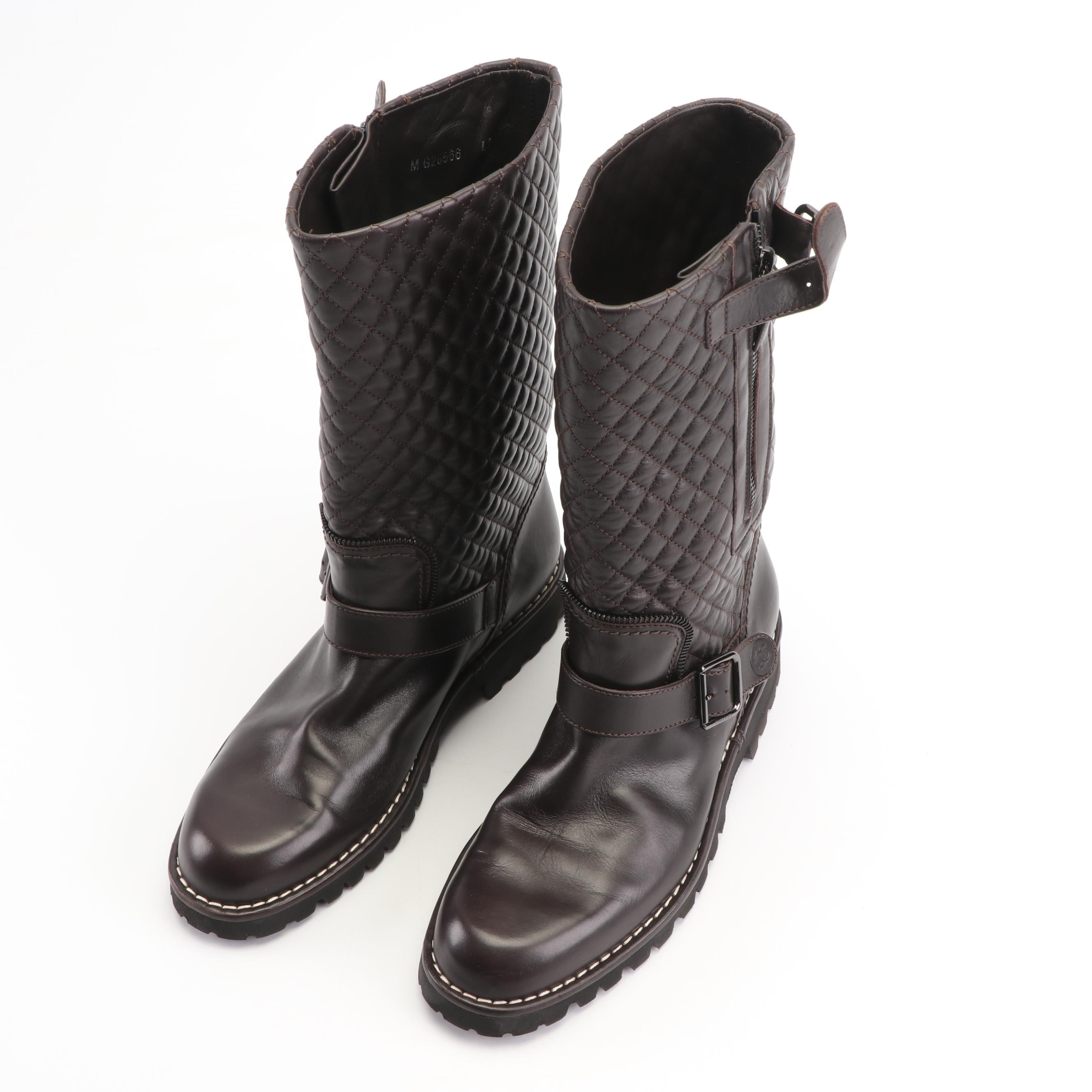 Women's Chanel Quilted Dark Brown Leather Biker Moto Boots, Made in Italy