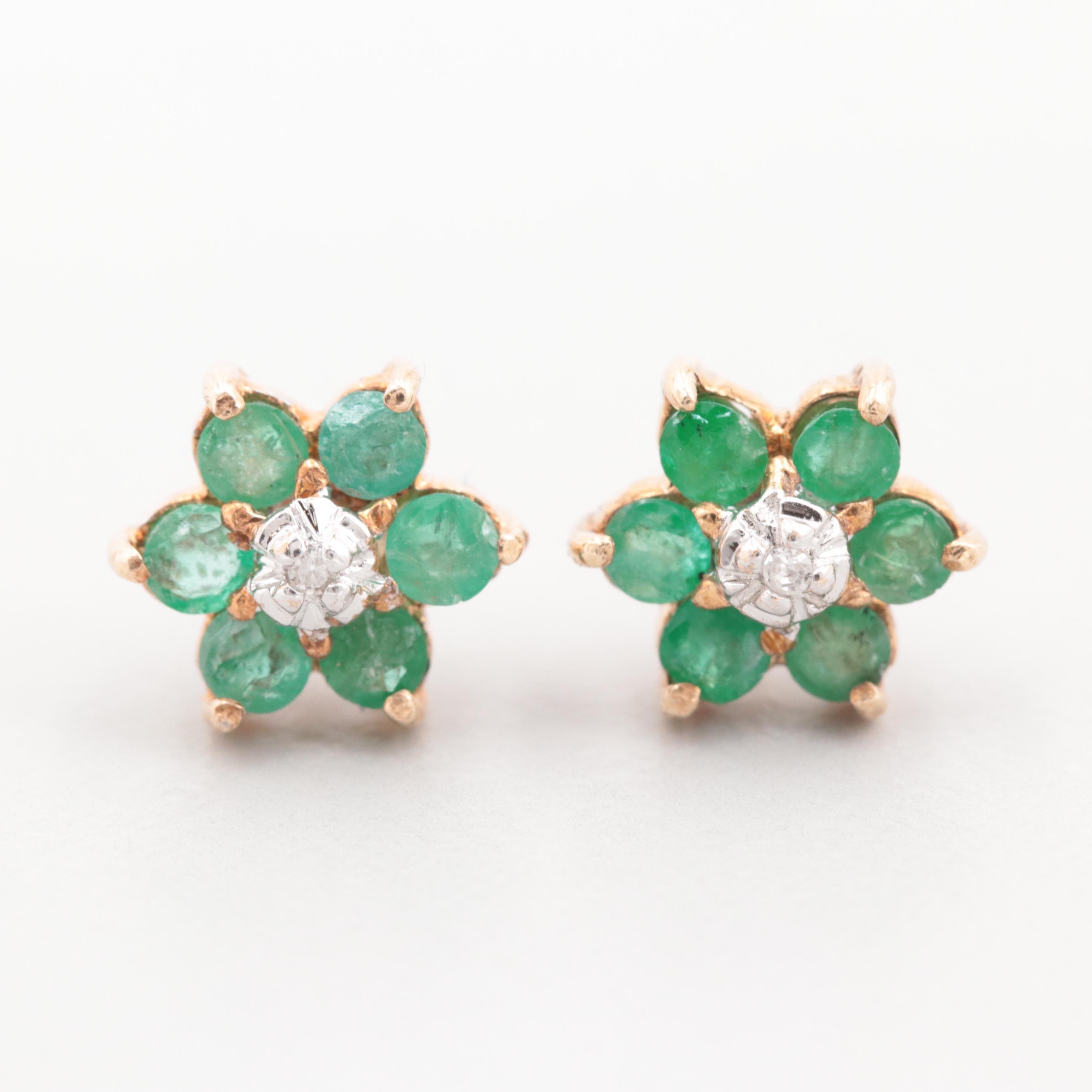 10K Yellow Gold Diamond and Emerald Stud Earrings