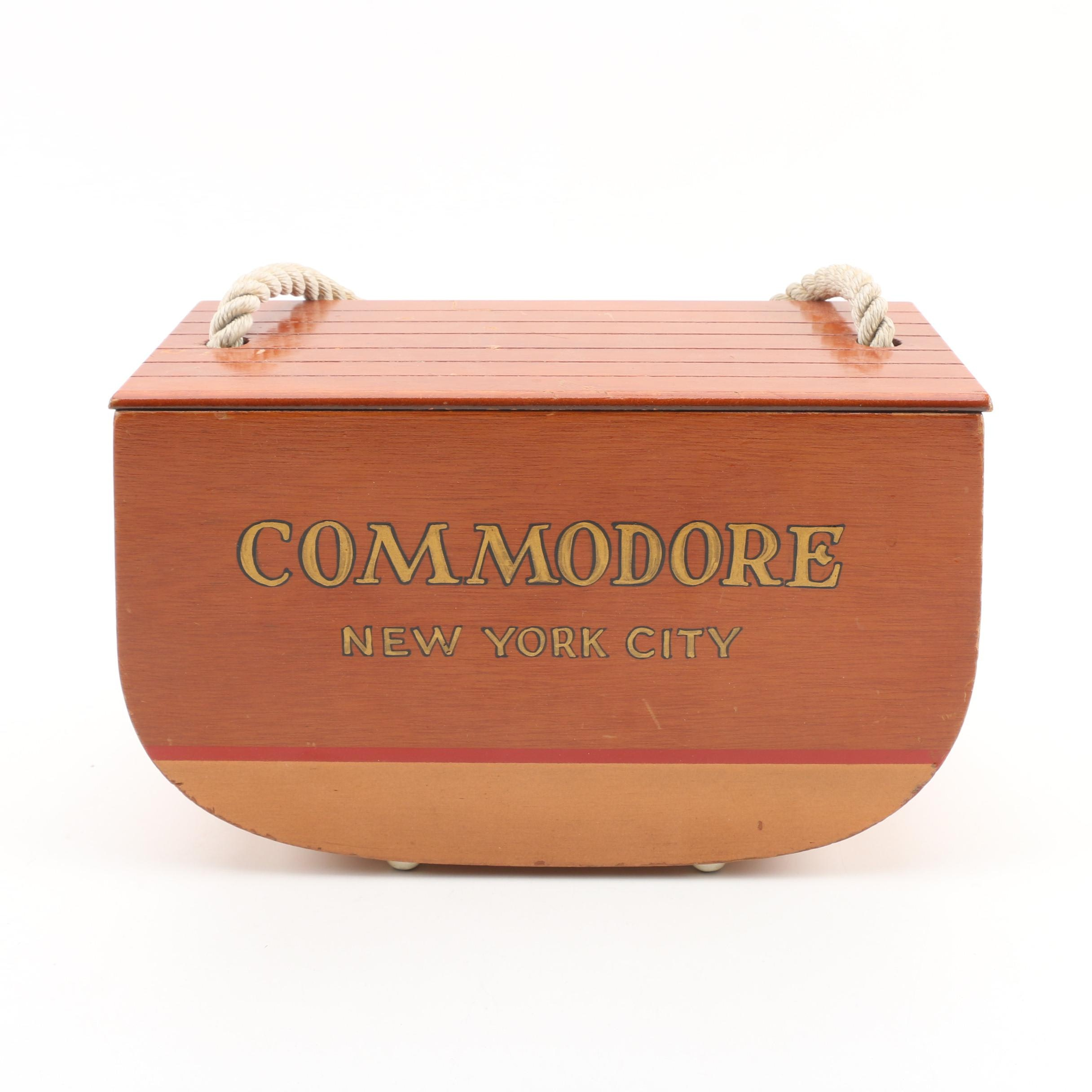 Commodore New York Cork Lined Wooden Box with Rope Handle, Vintage