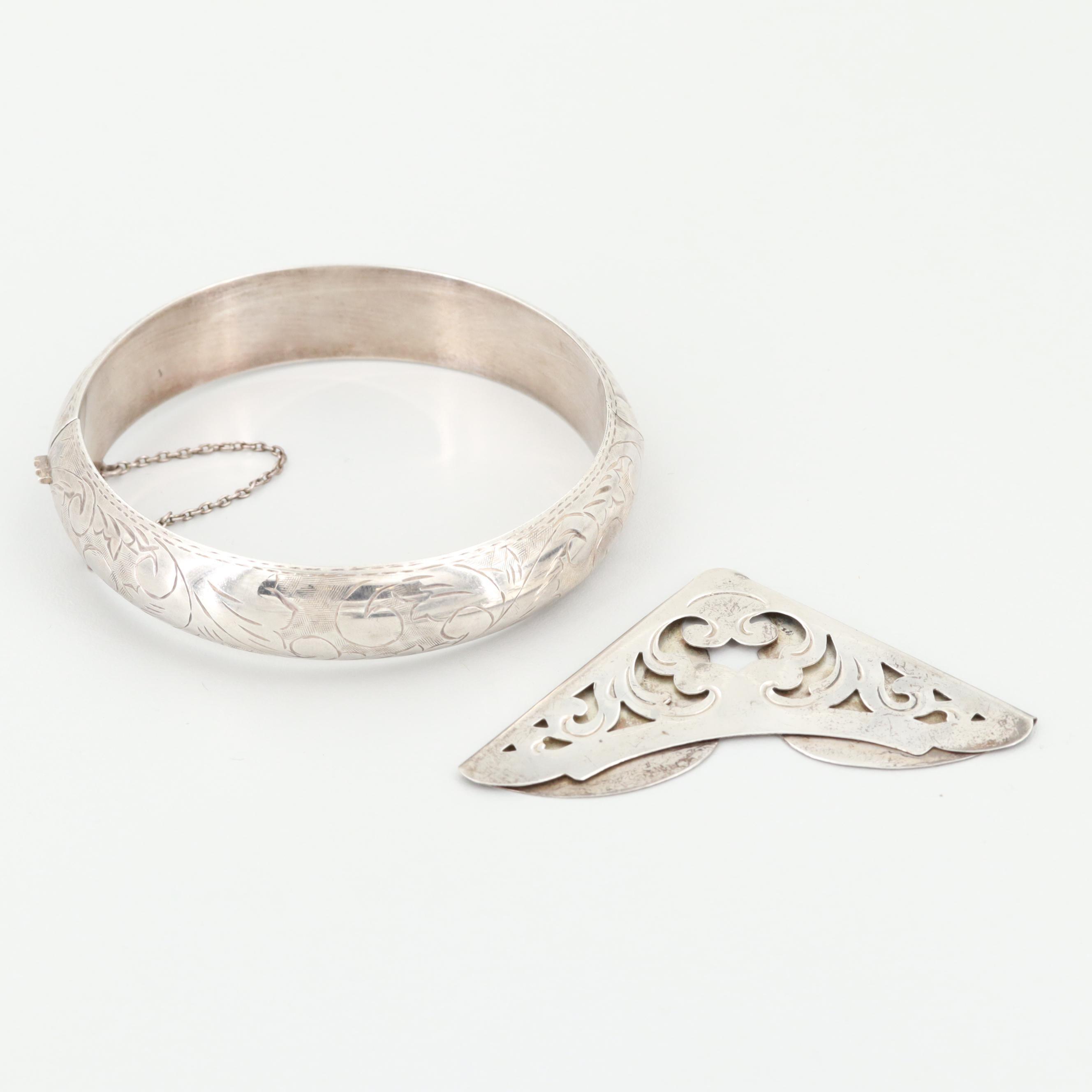 Vintage Etched Sterling Silver Bangle Bracelet and Page Marker