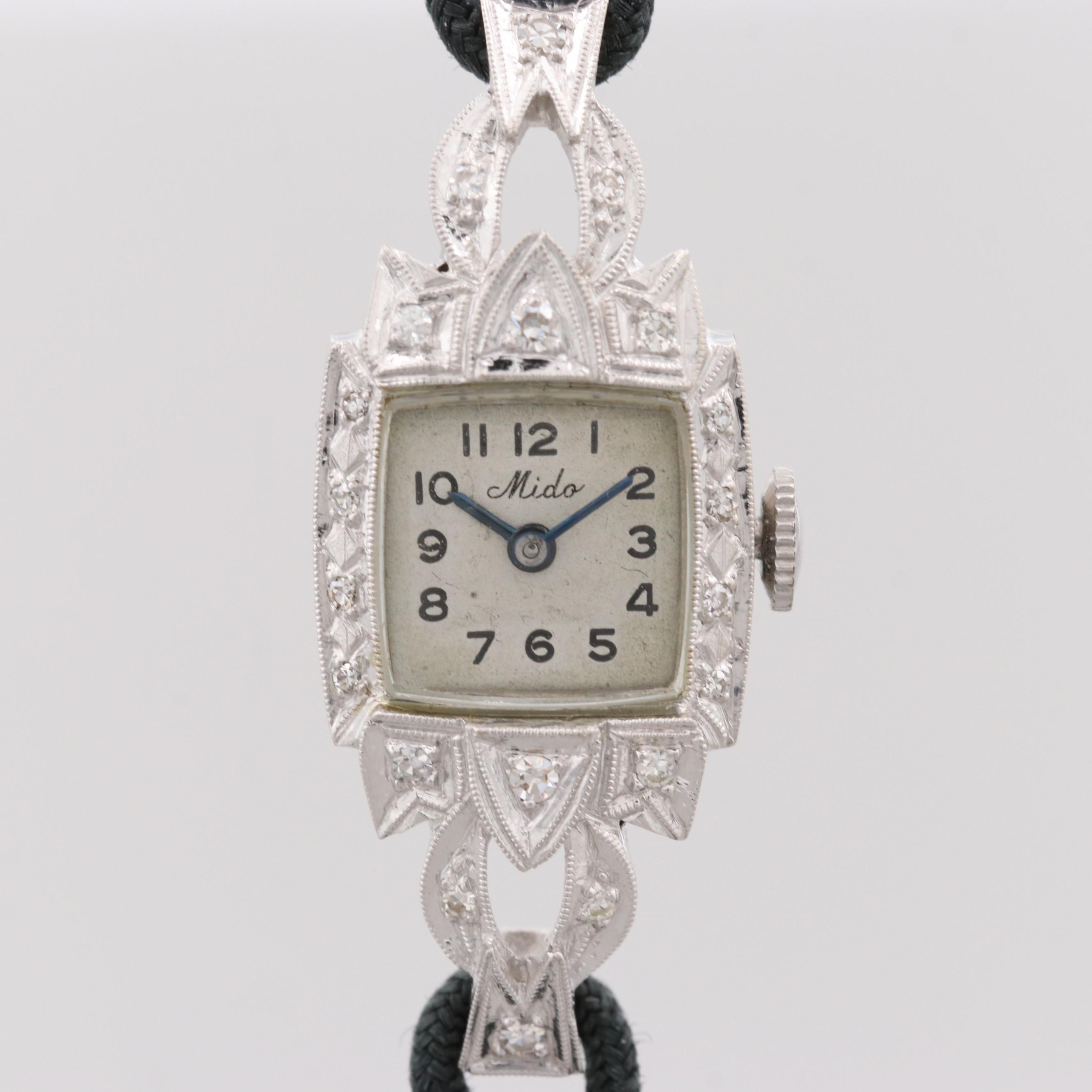 Mido 14K White Gold Swiss Wristwatch With Diamond Bezel and Lugs