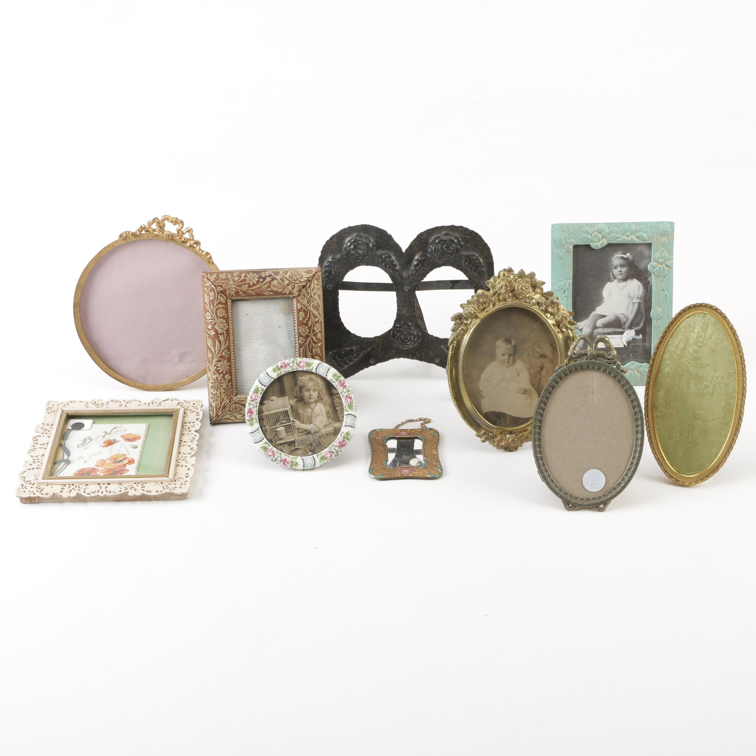 Vintage Metal, Leather, and Wood Picture Frames and Mirror