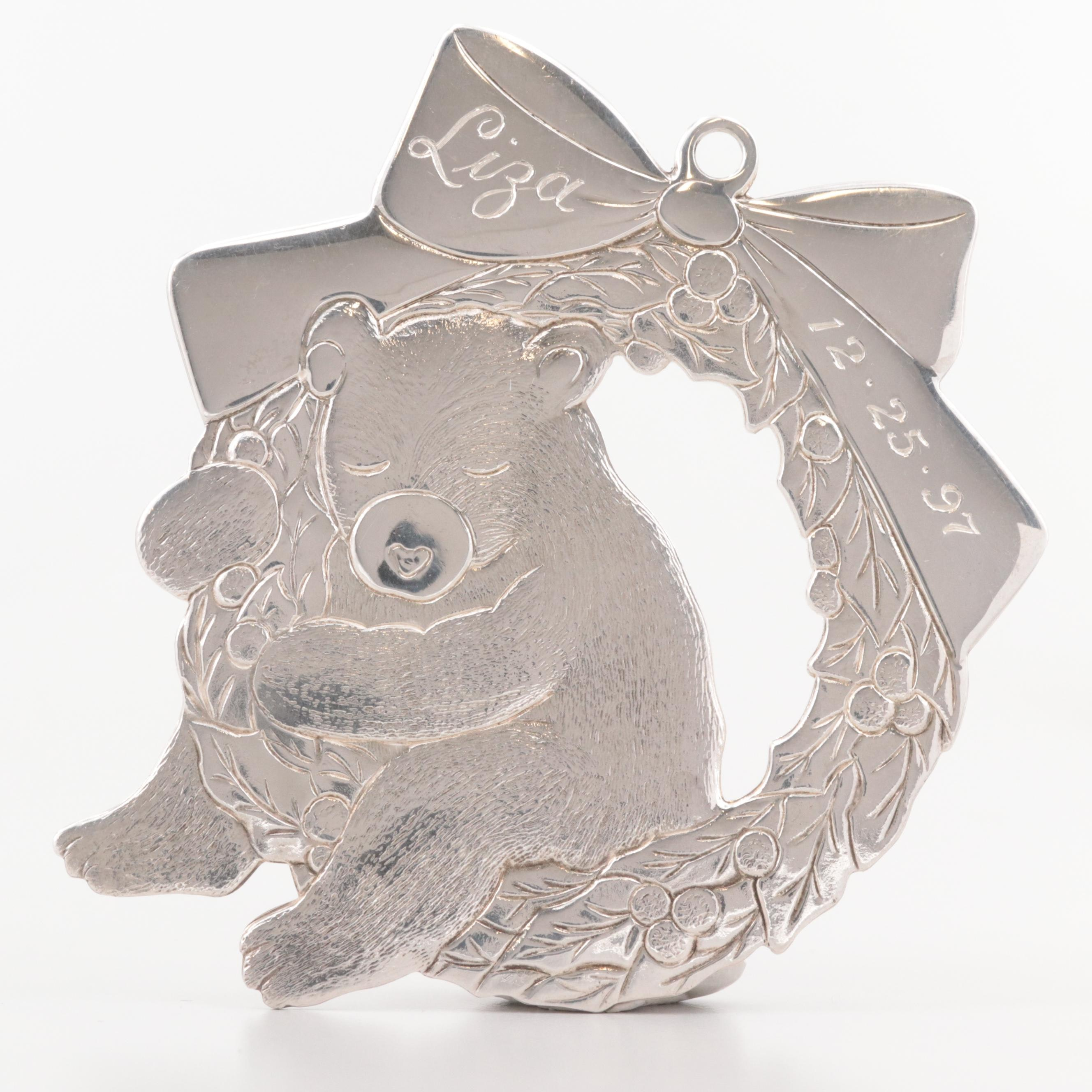 Tiffany & Co. Sterling Silver Bear on Holly Wreath Ornament