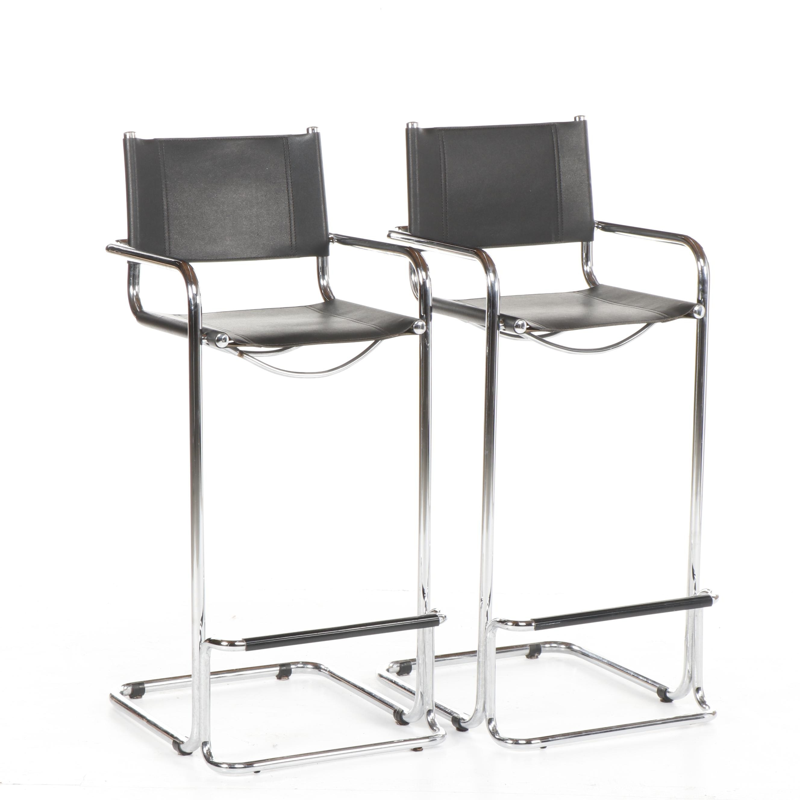 Modern Style Chrome and Leather Barstools, 21st Century